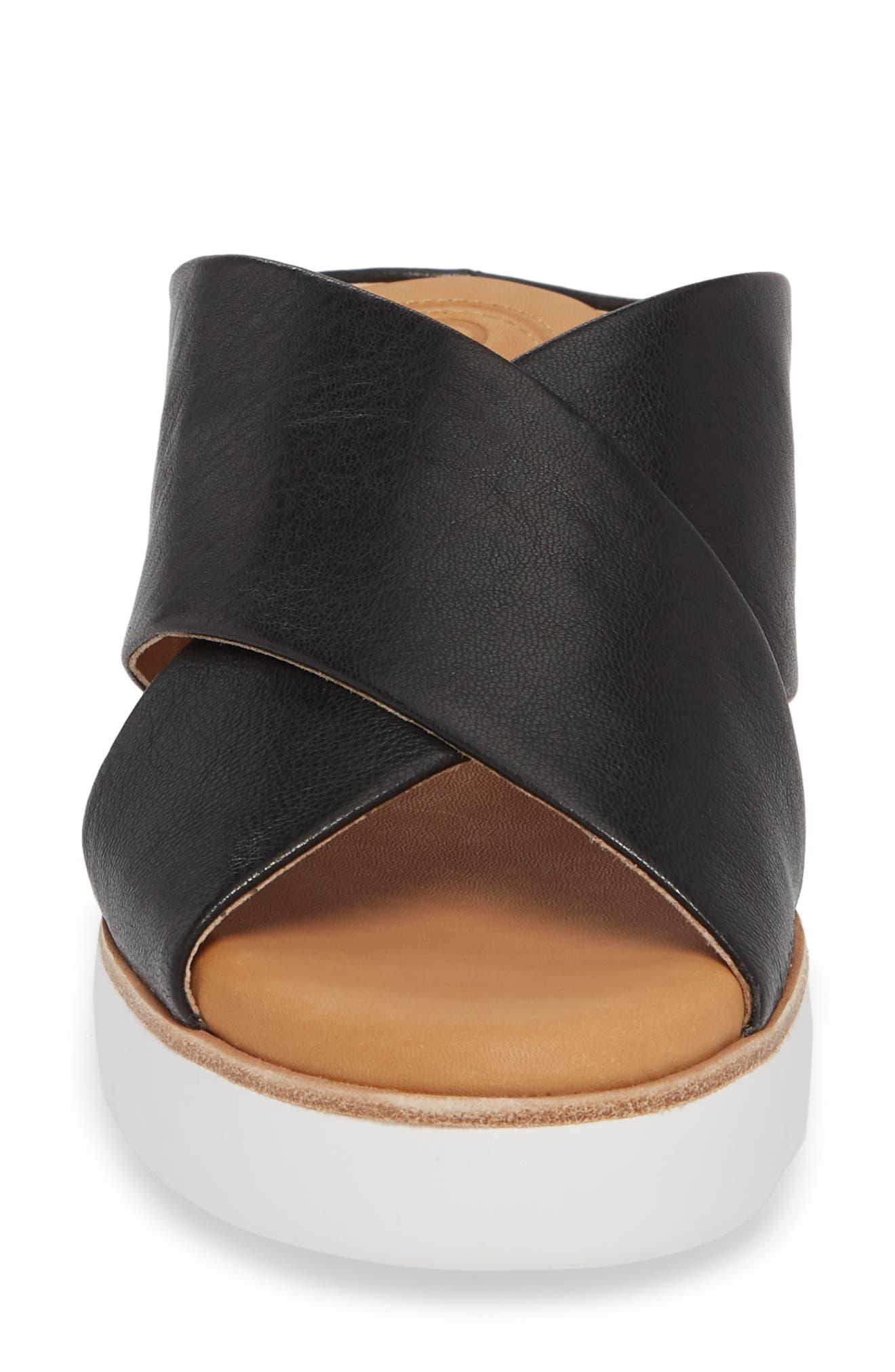Brunna Sandal,                             Alternate thumbnail 4, color,                             Black Leather