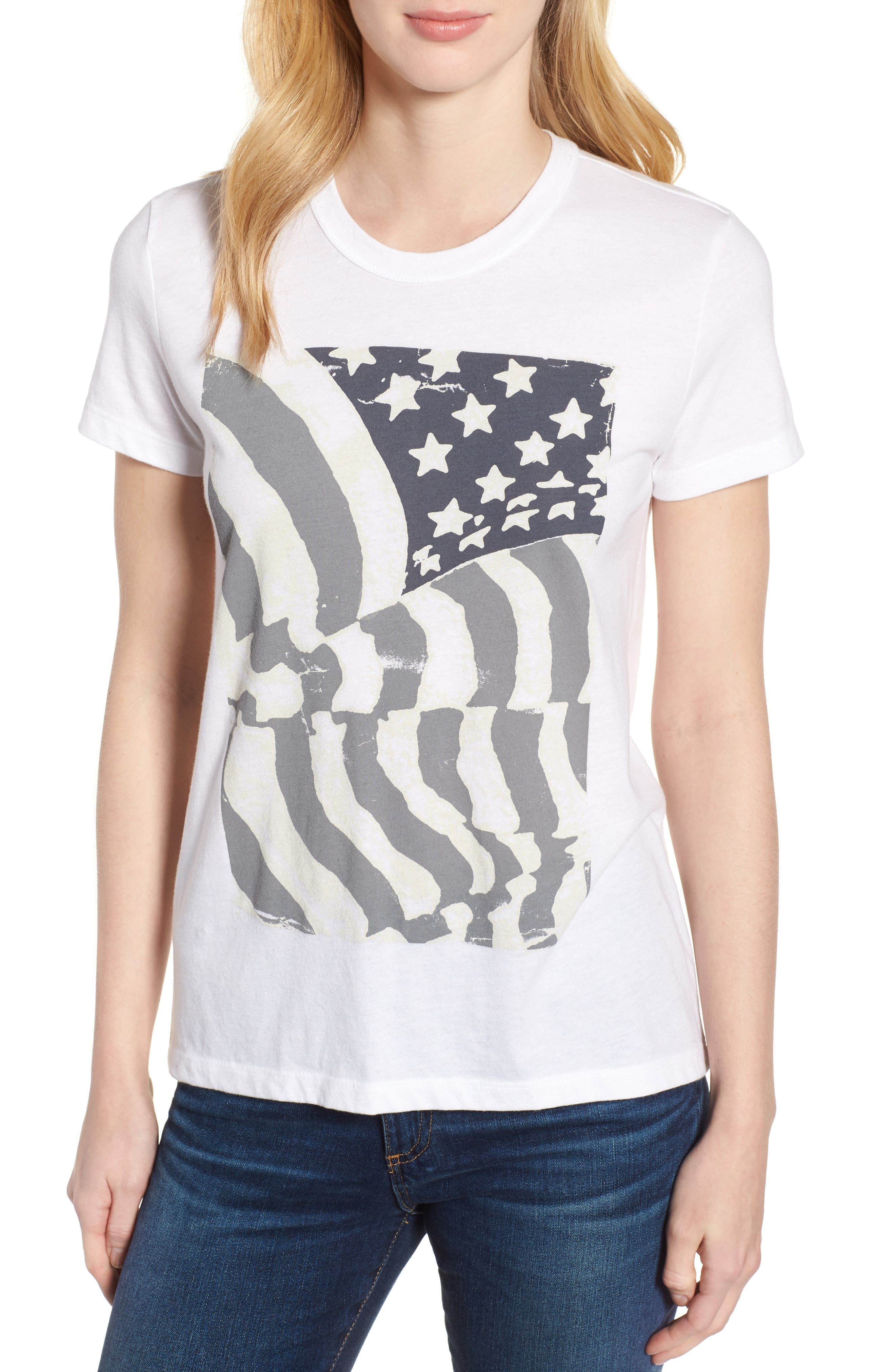 Ruched Back Flag Tee,                             Main thumbnail 1, color,                             Lucky White