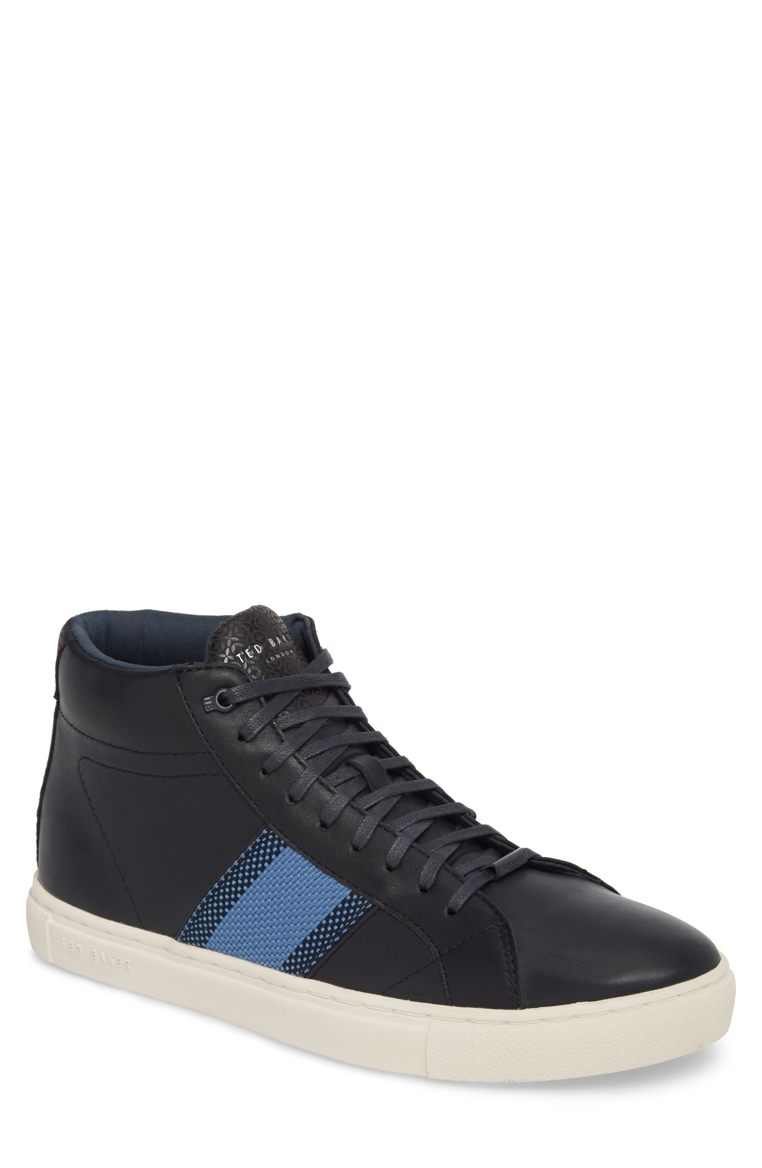 Cruuw High Top Sneaker,                         Main,                         color, Dark Blue Leather