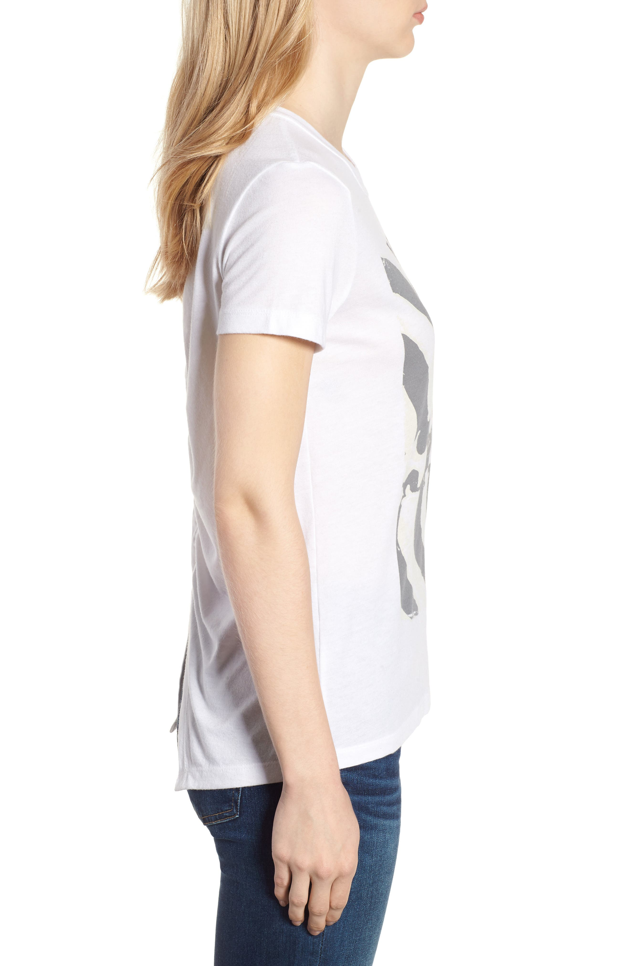 Ruched Back Flag Tee,                             Alternate thumbnail 3, color,                             Lucky White