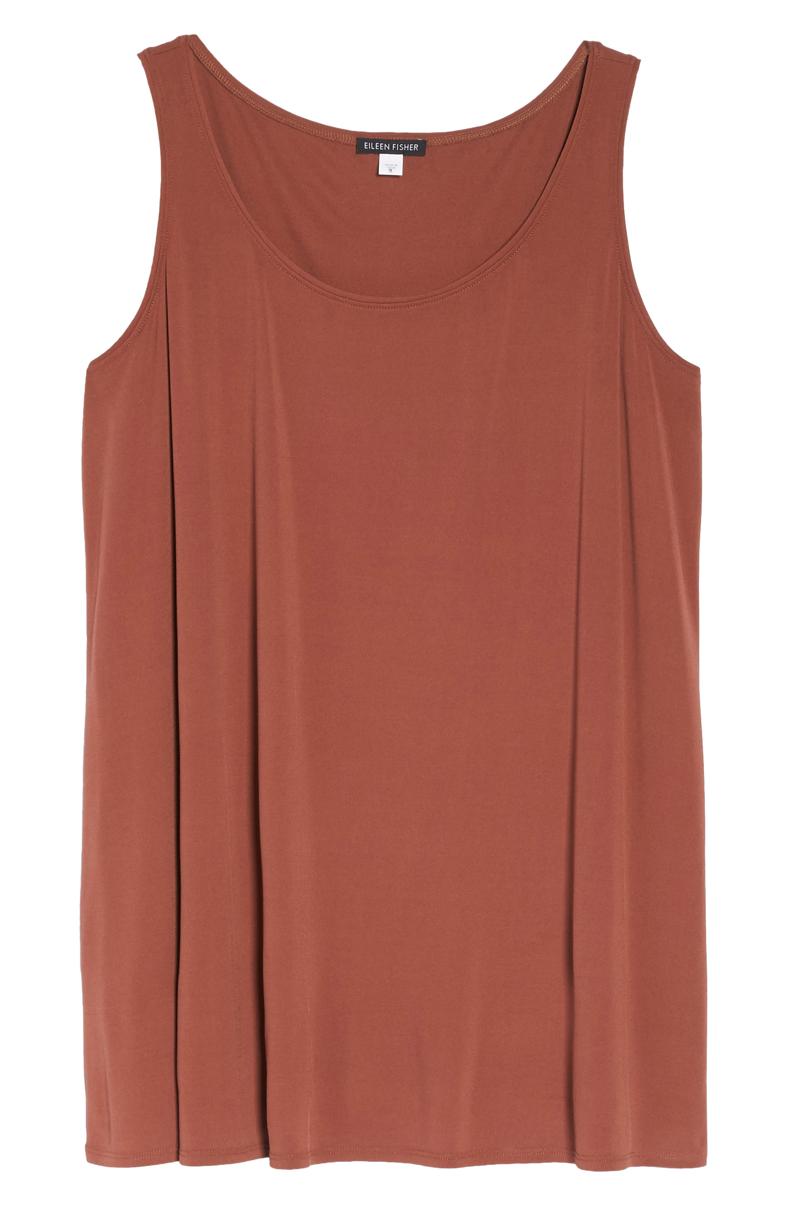 Silk Jersey Tank,                             Alternate thumbnail 7, color,                             Russet