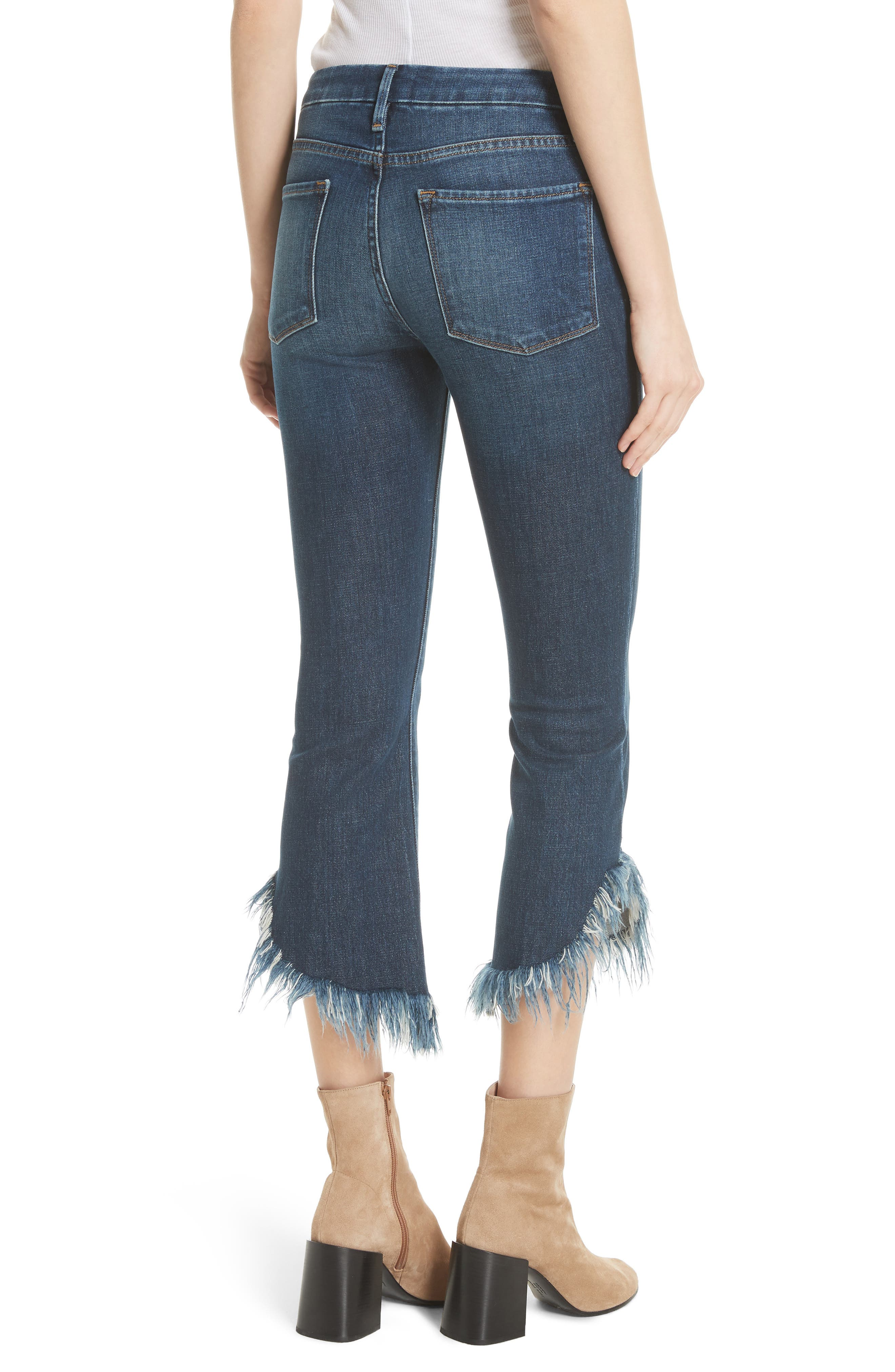 Le Crop Mini Boot Shredded Crop Hem Jeans,                             Alternate thumbnail 2, color,                             Bayberry