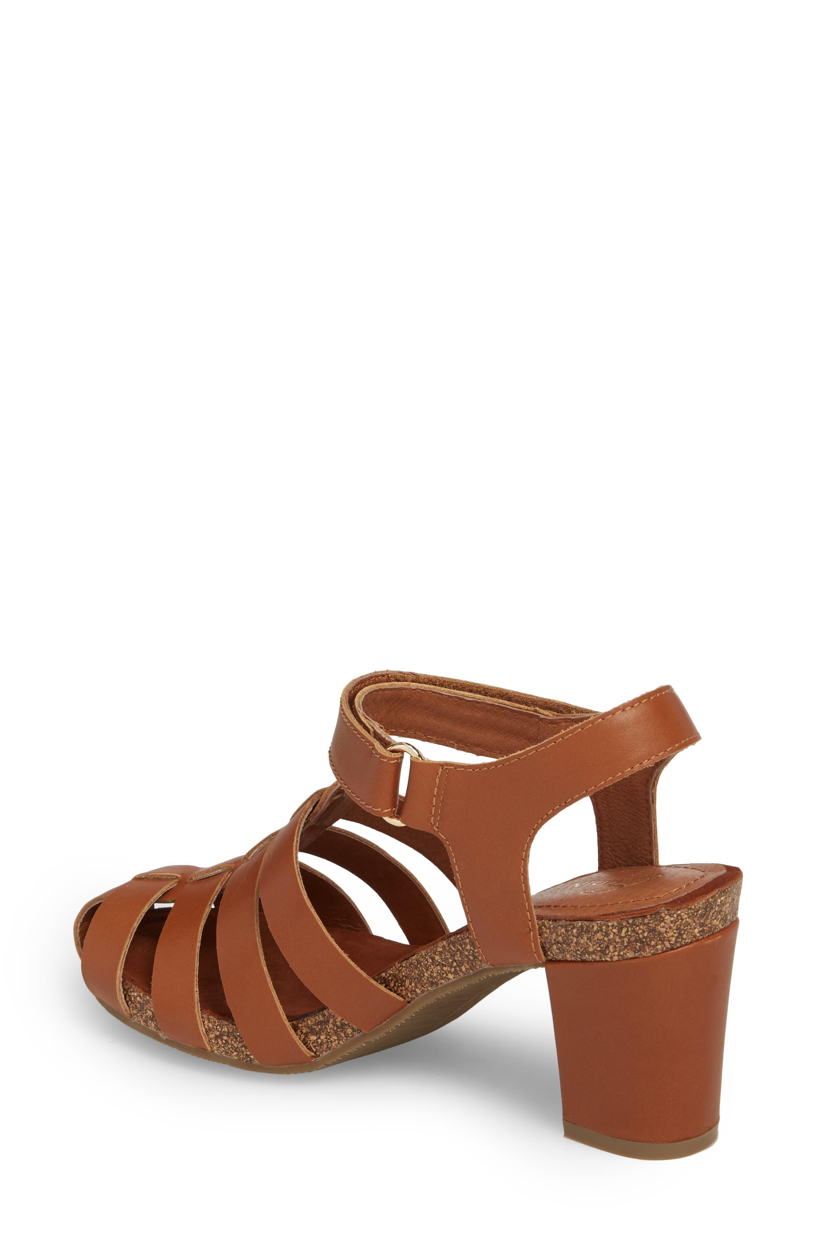 Carrara Block Heel Sandal,                             Alternate thumbnail 2, color,                             Cognac Leather