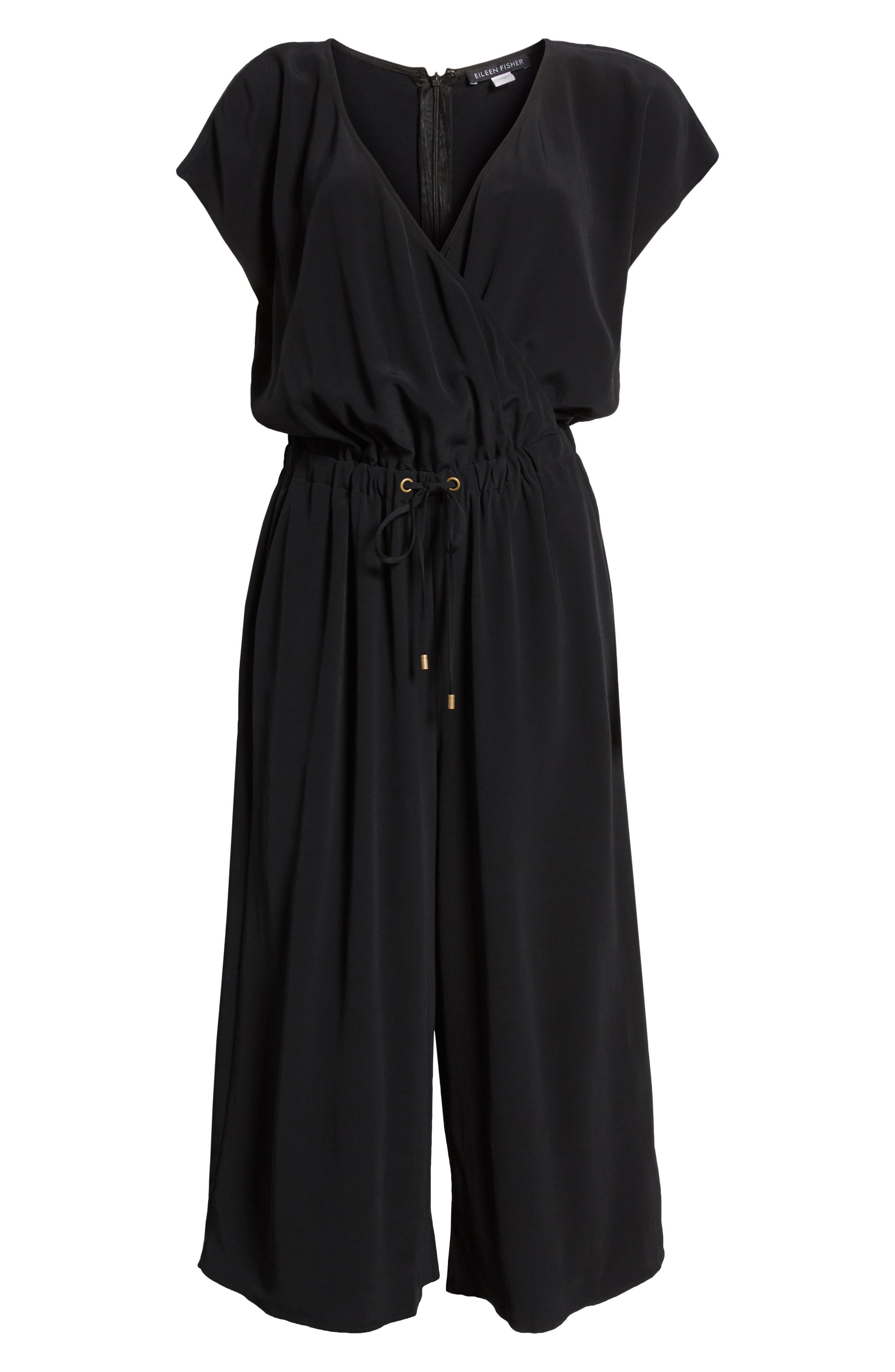 Wide Leg Crop Jumpsuit,                             Alternate thumbnail 7, color,                             Black