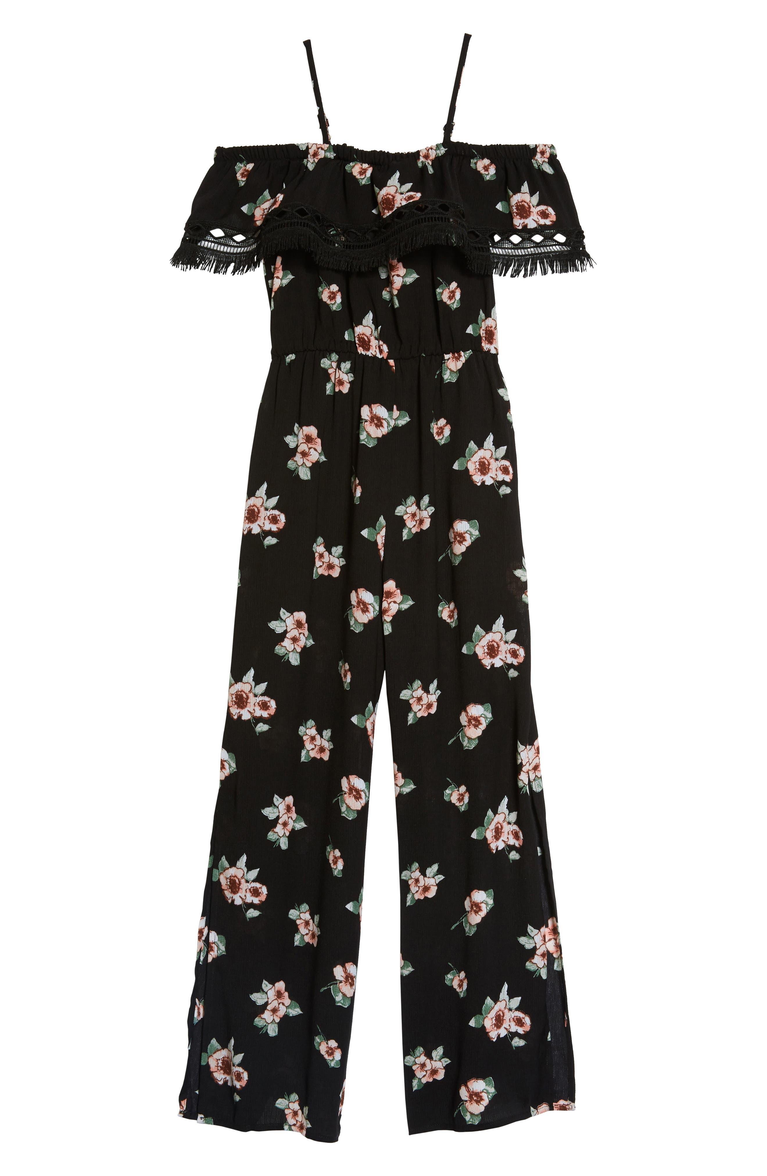 Floral Print Jumpsuit,                         Main,                         color, Black Multi