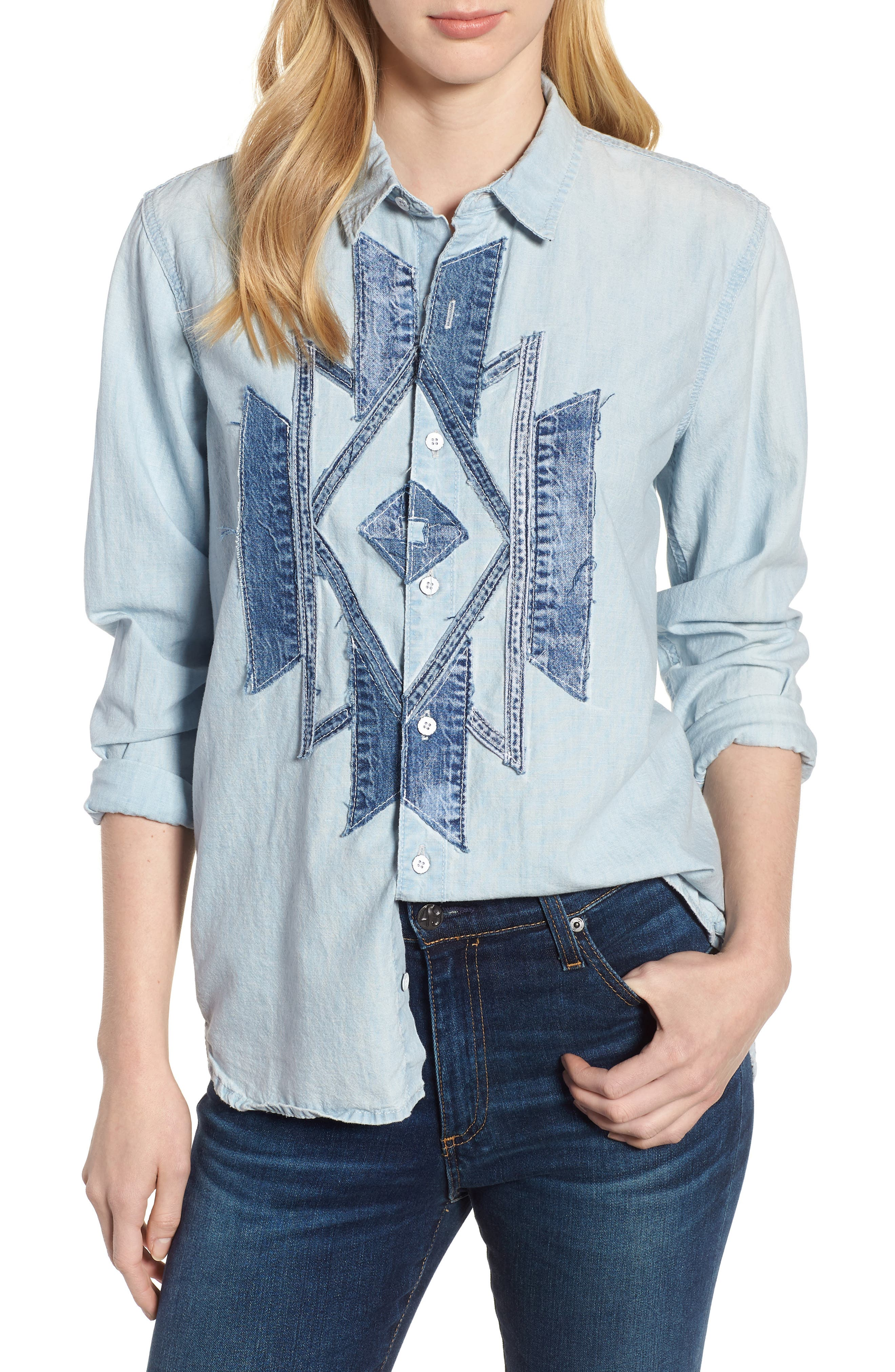 Lucky Southwestern Patch Shirt,                             Main thumbnail 1, color,                             Navajo Fort Bend