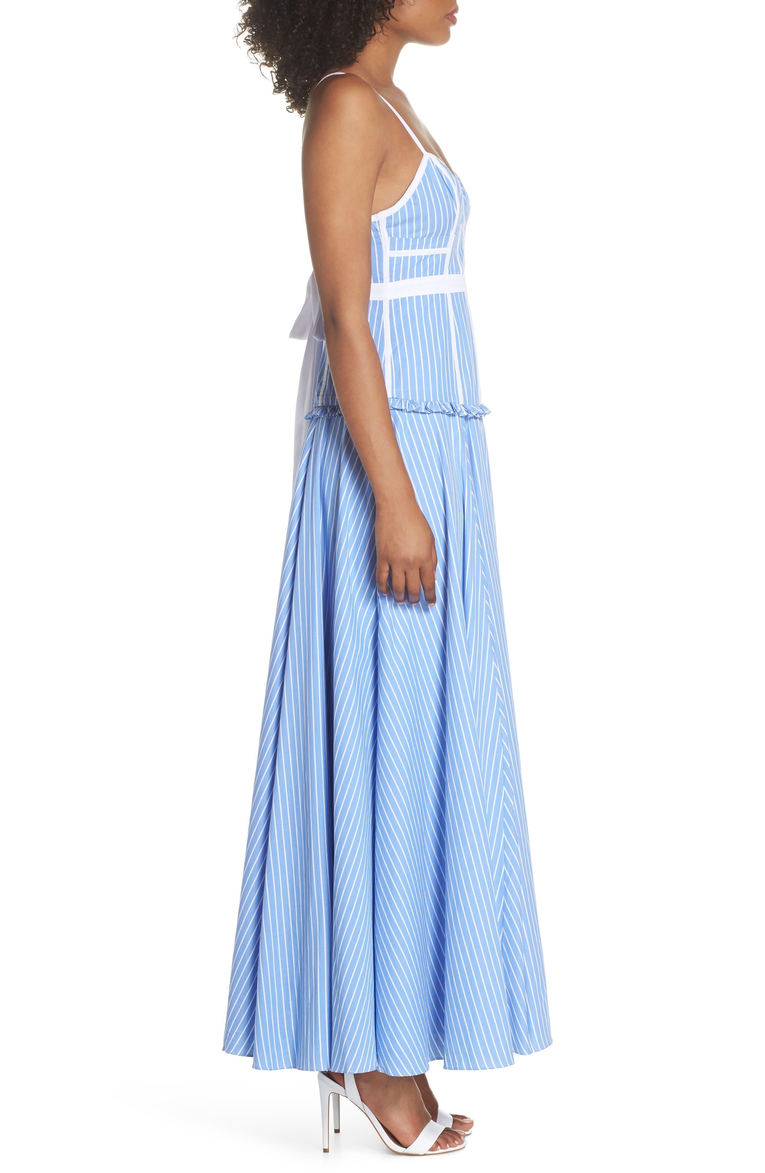Morrow Stripe Corset Gown,                             Alternate thumbnail 3, color,                             Pale Blue/ White Stripe