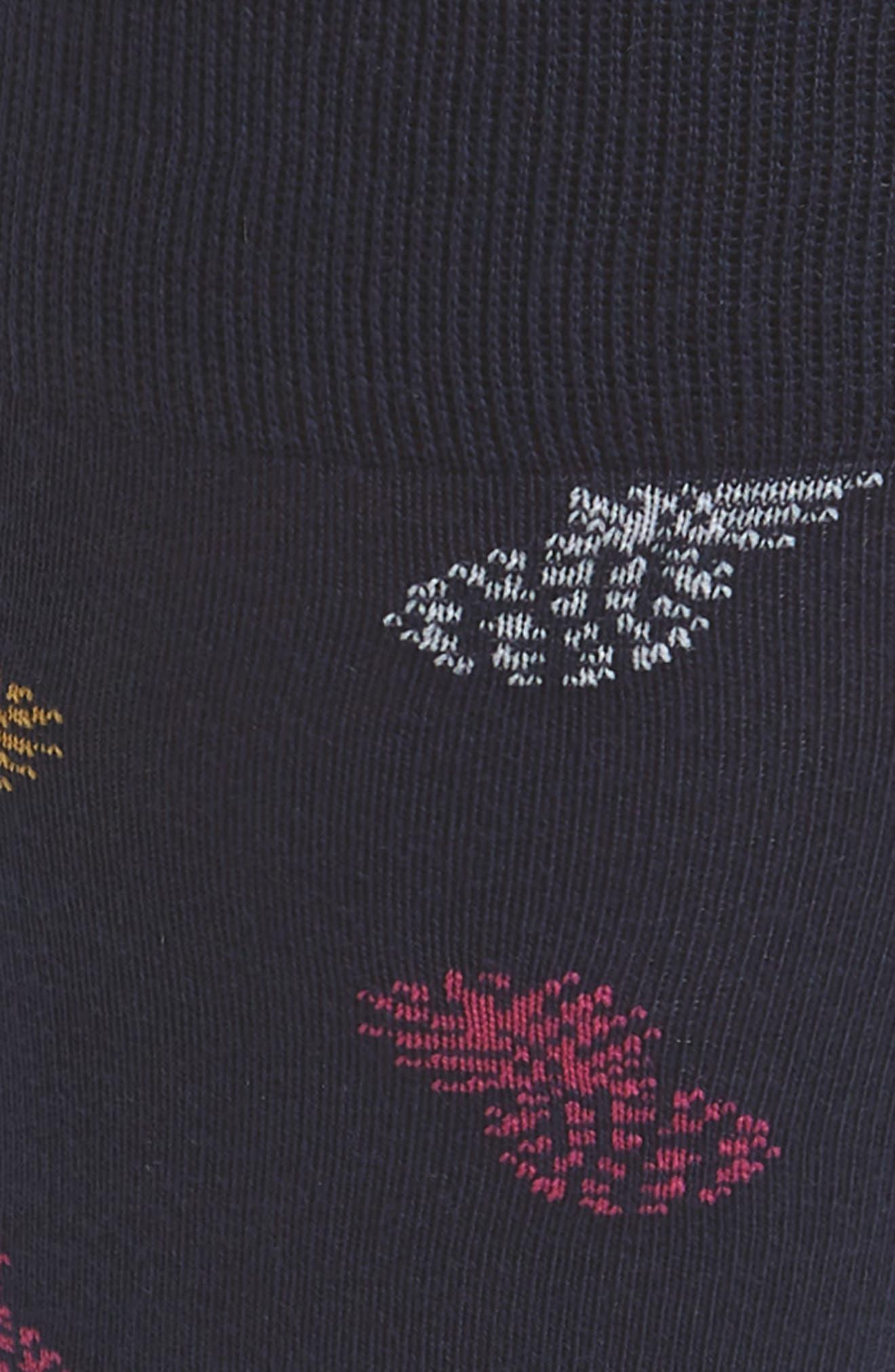 Tumbling Pineapples Socks,                             Alternate thumbnail 2, color,                             Navy/ Gold