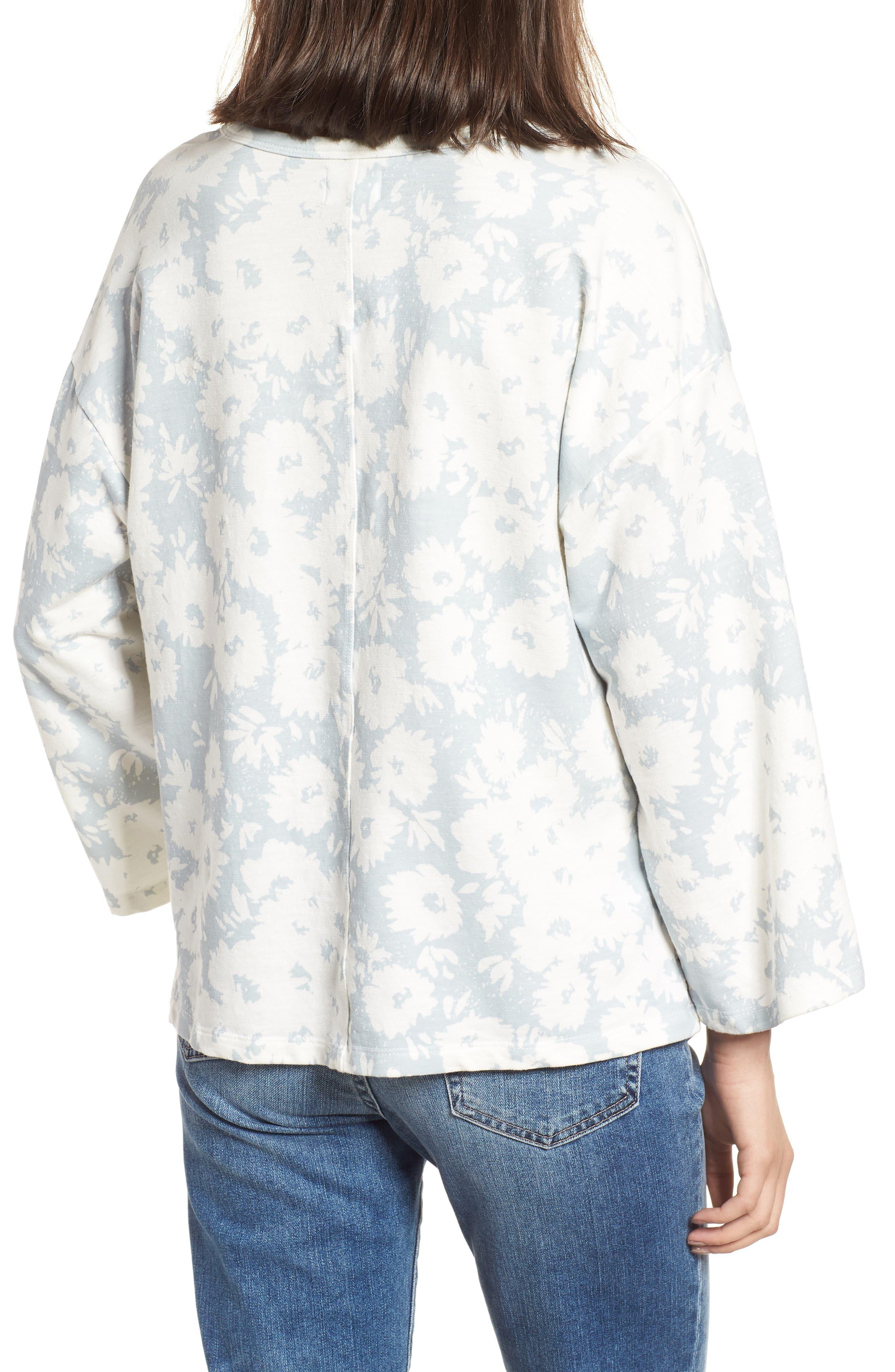 Kimono Sweatshirt,                             Alternate thumbnail 2, color,                             Sky/ White