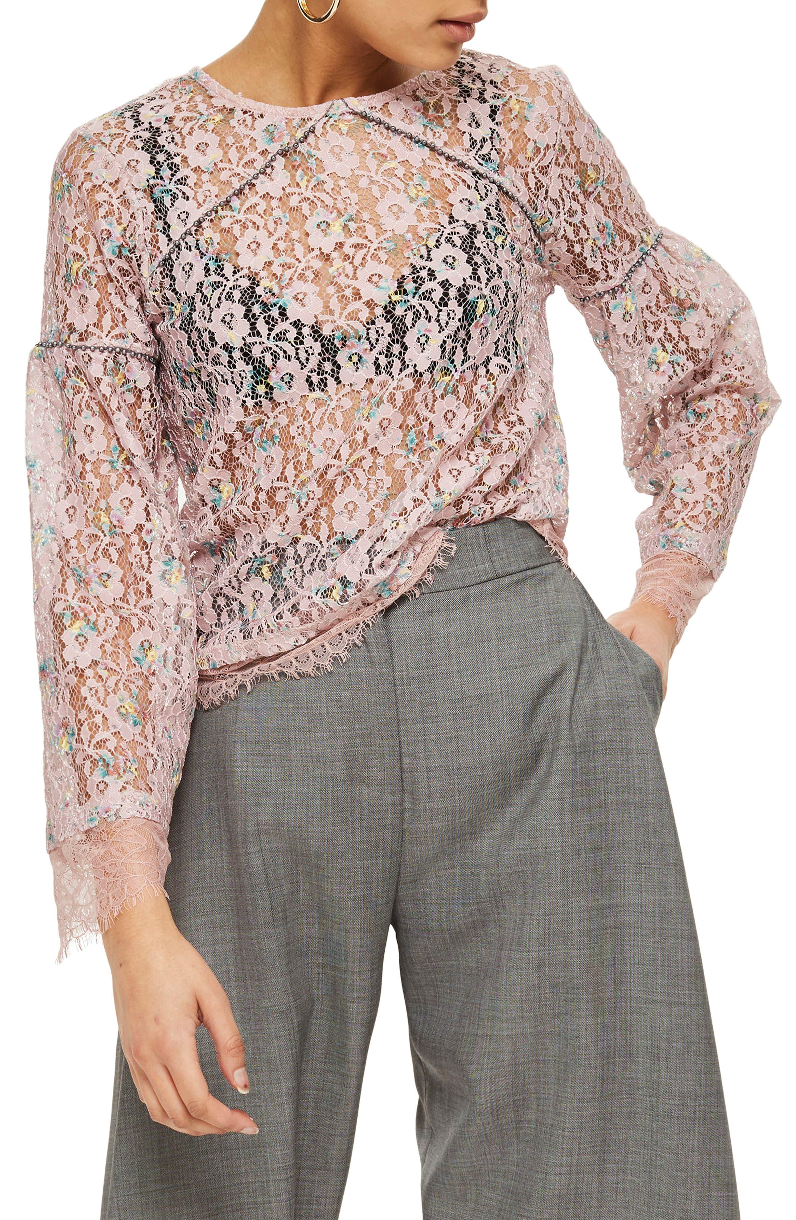 Stud Trim Lace Top,                         Main,                         color, Pink Multi
