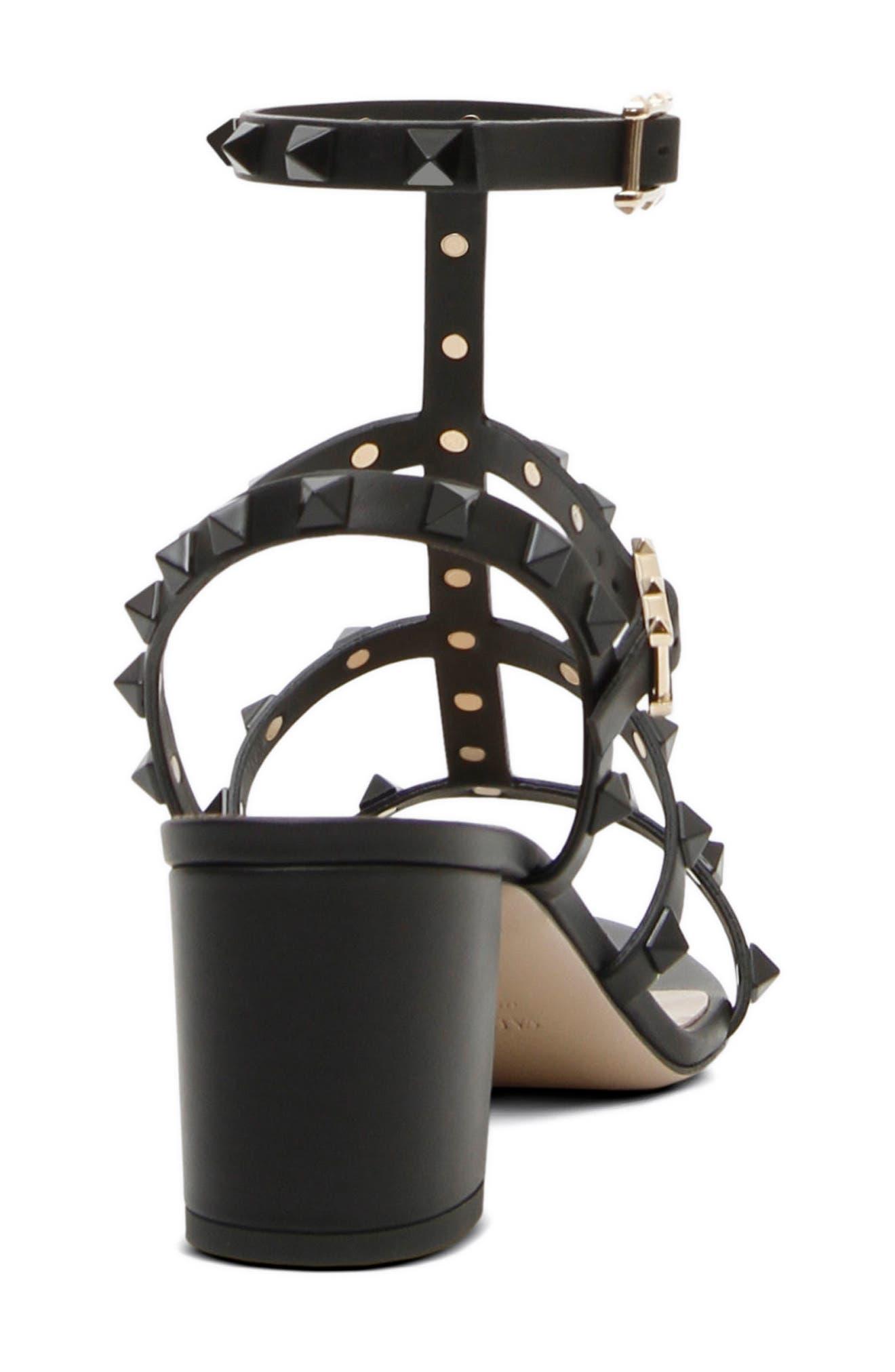 Rockstud Block Heel Sandal,                             Alternate thumbnail 2, color,                             Black