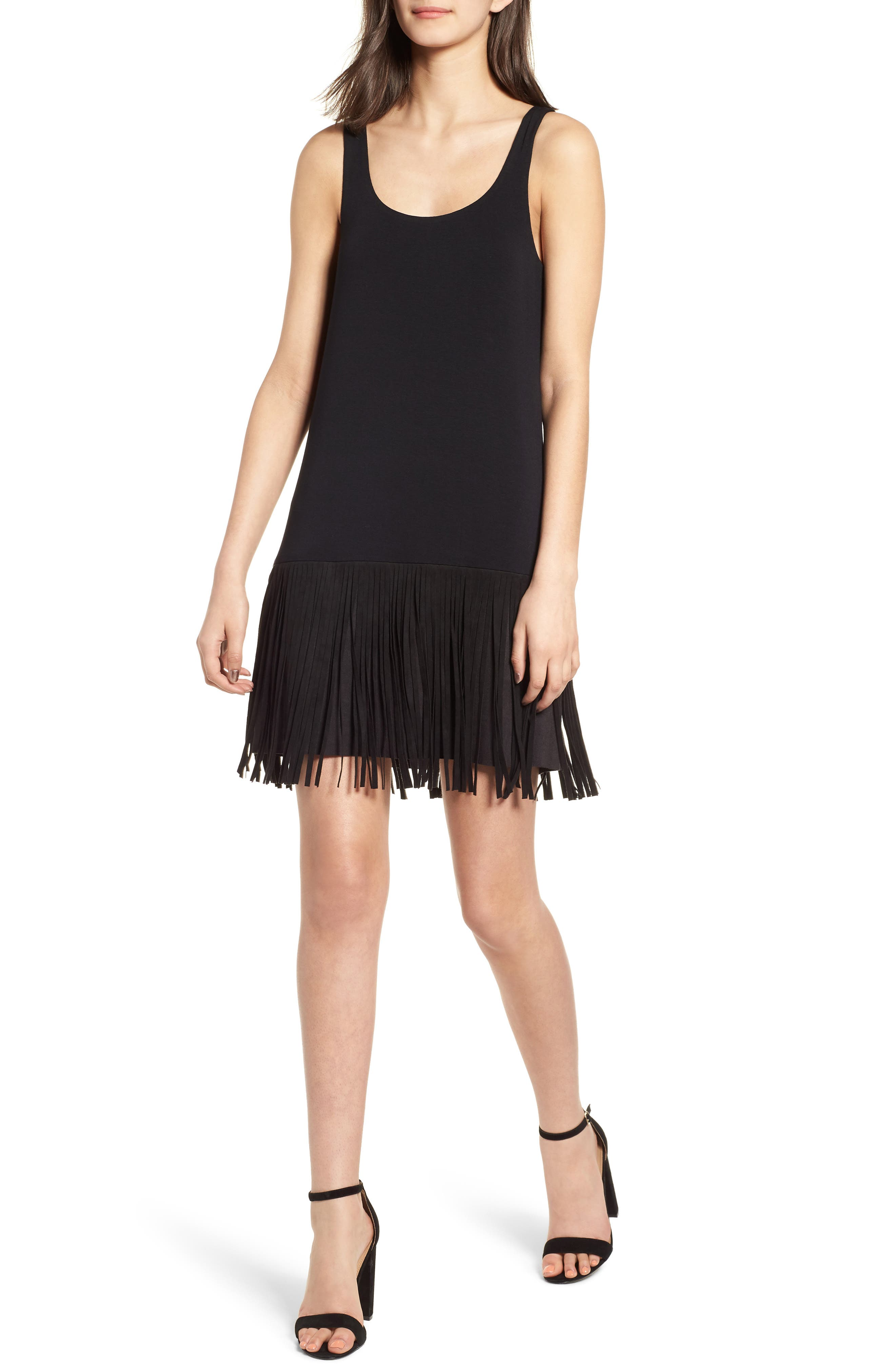 Dead or Alive Fringe Tank Dress,                             Main thumbnail 1, color,                             Black