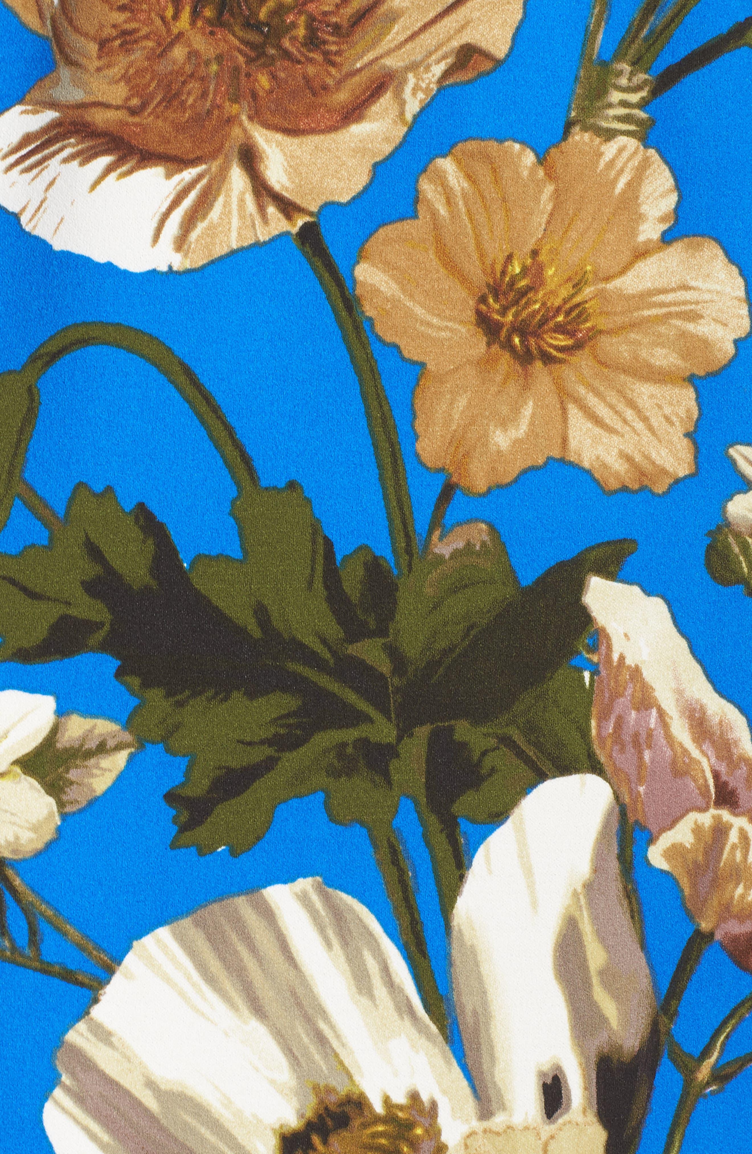 Floral Cold Shoulder Sheath Dress,                             Alternate thumbnail 6, color,                             Blue/ Neutral