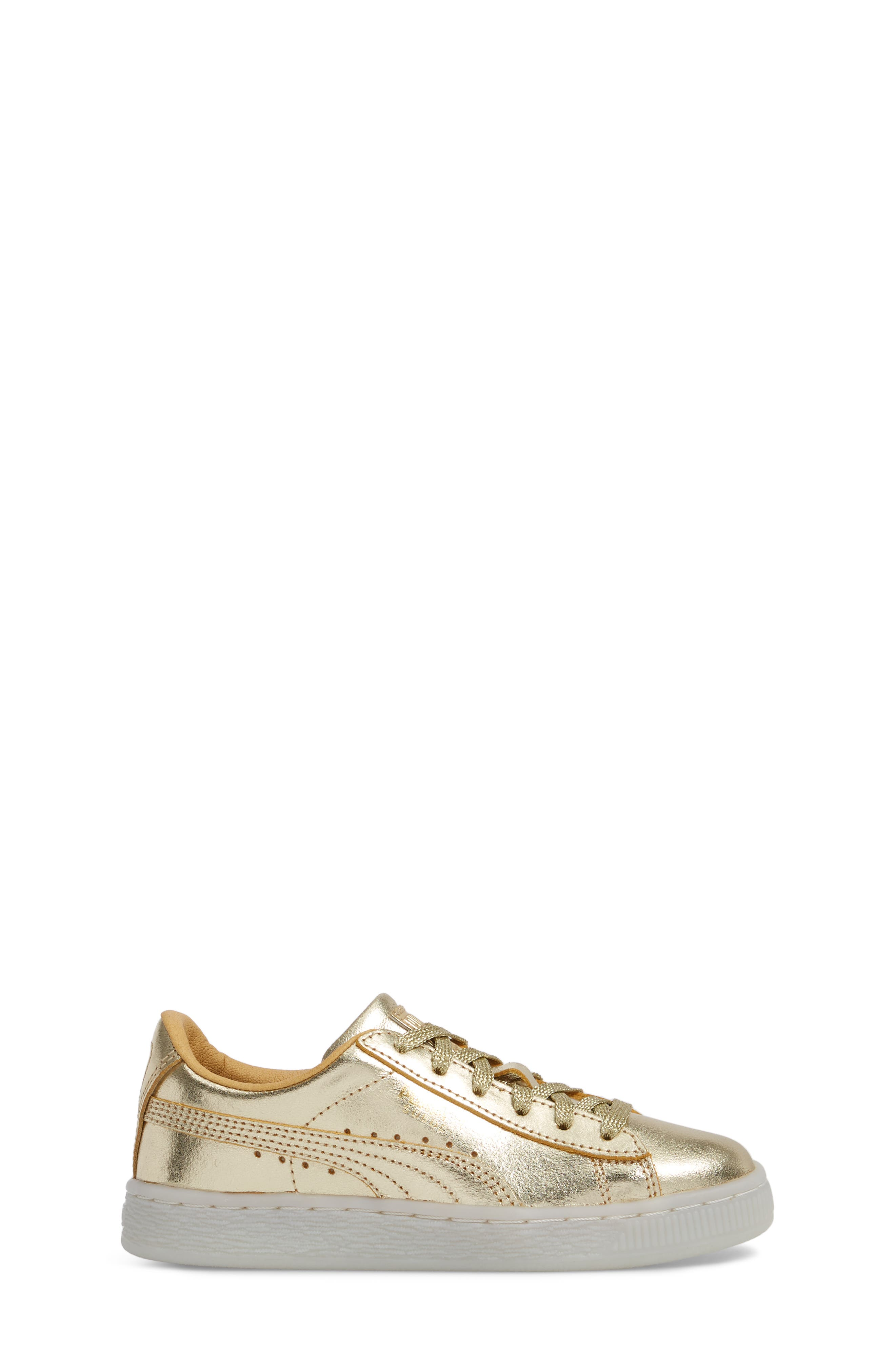 Suede 50th Anniversary Metallic Sneaker,                             Alternate thumbnail 3, color,                             Gold