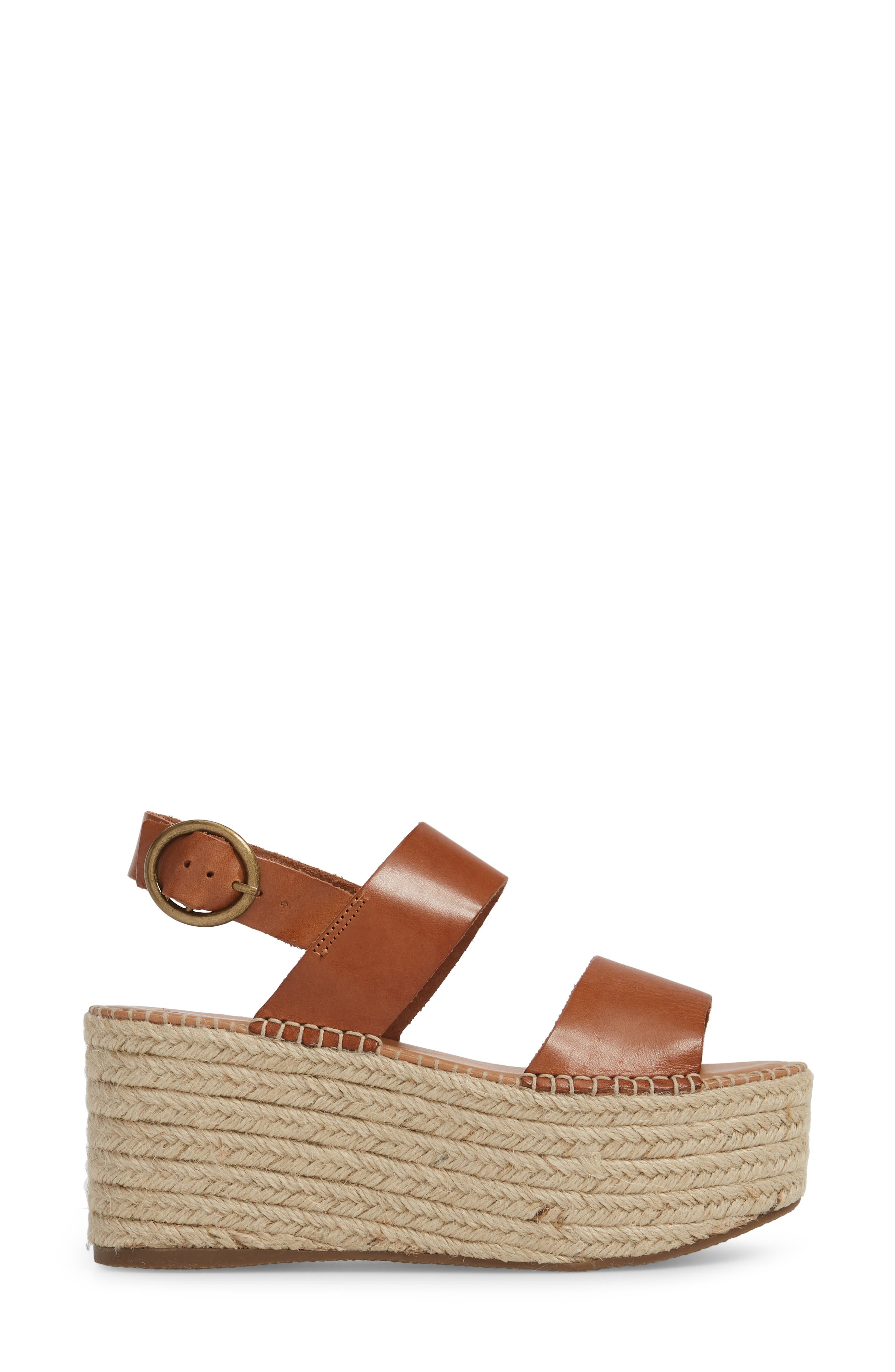Cali Espadrille Platform Sandal,                             Alternate thumbnail 3, color,                             Cognac Leather