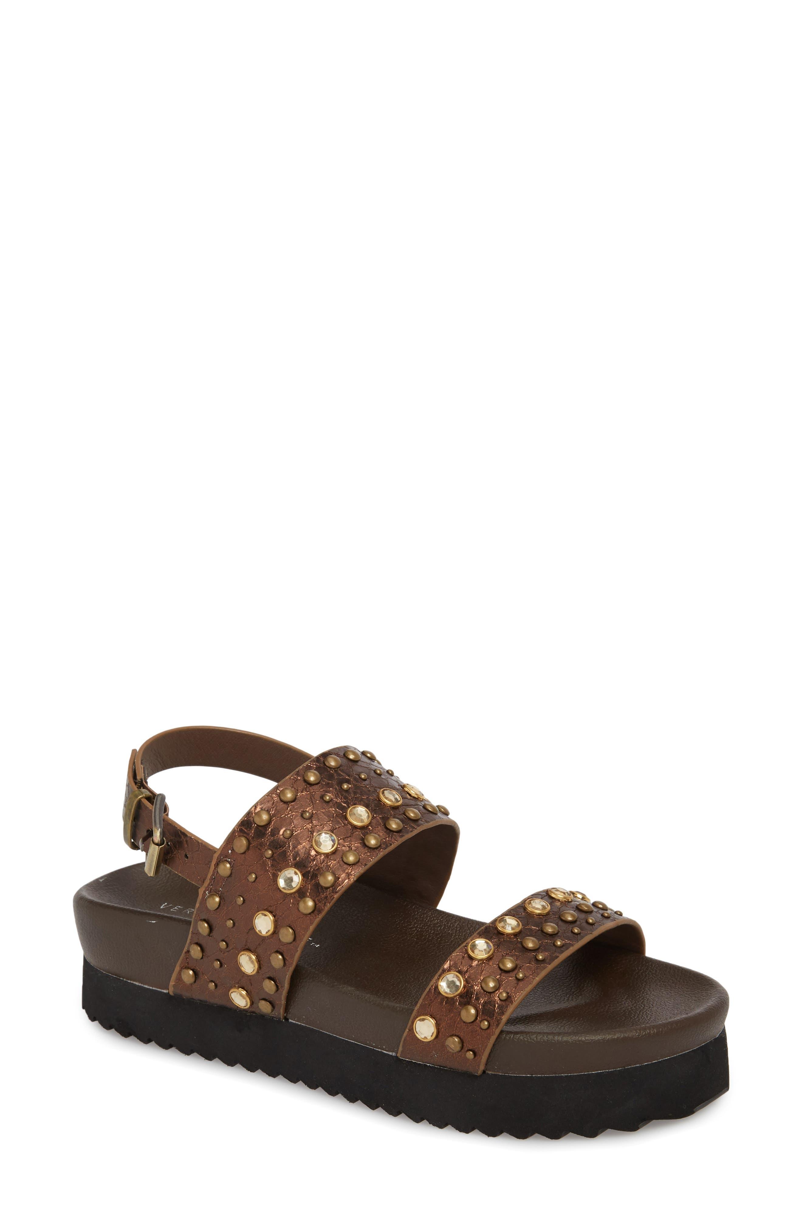 Milan Platform Sandal,                             Main thumbnail 1, color,                             Bronze