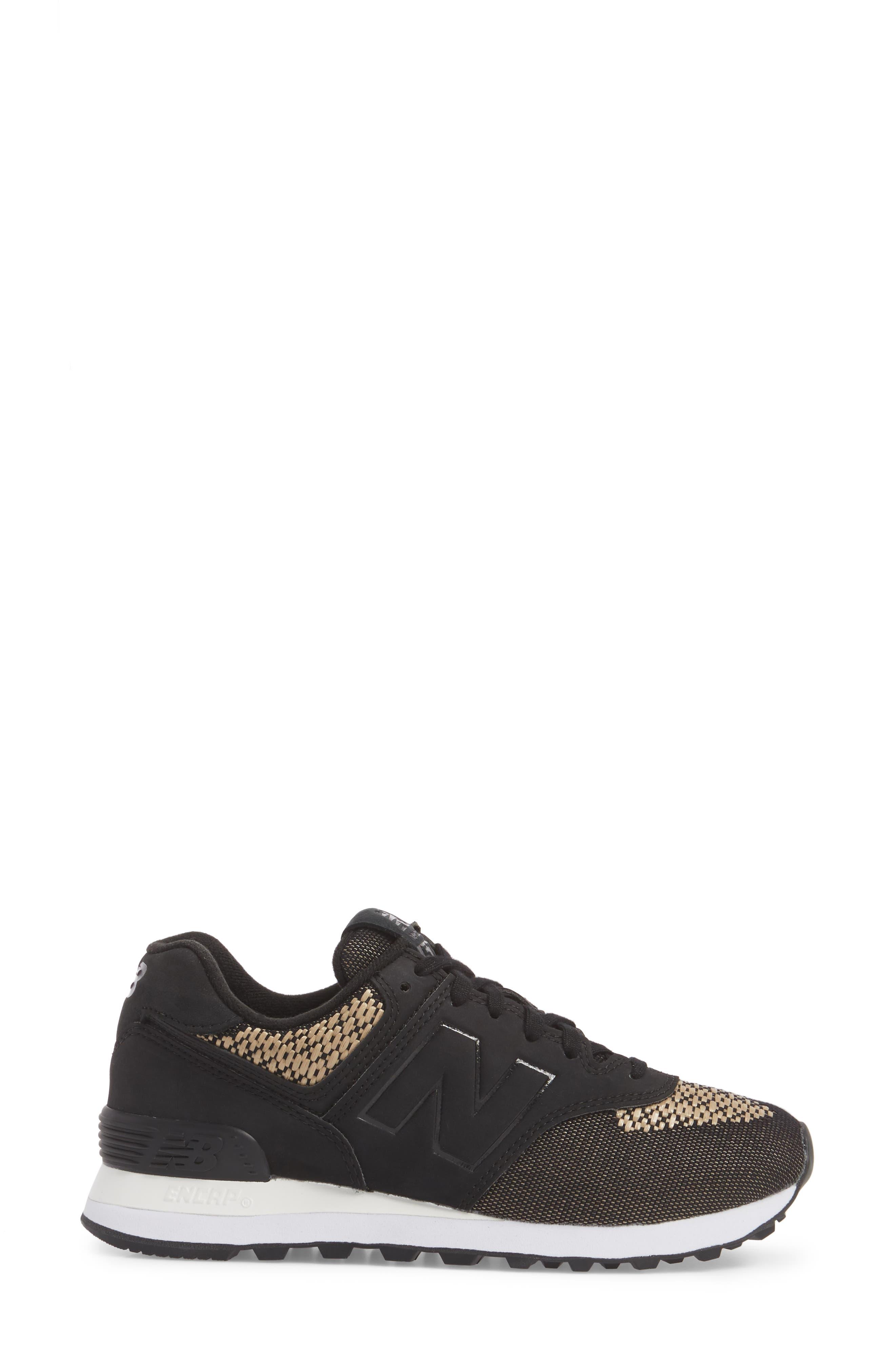 574 Tech Raffia Sneaker,                             Alternate thumbnail 3, color,                             Black