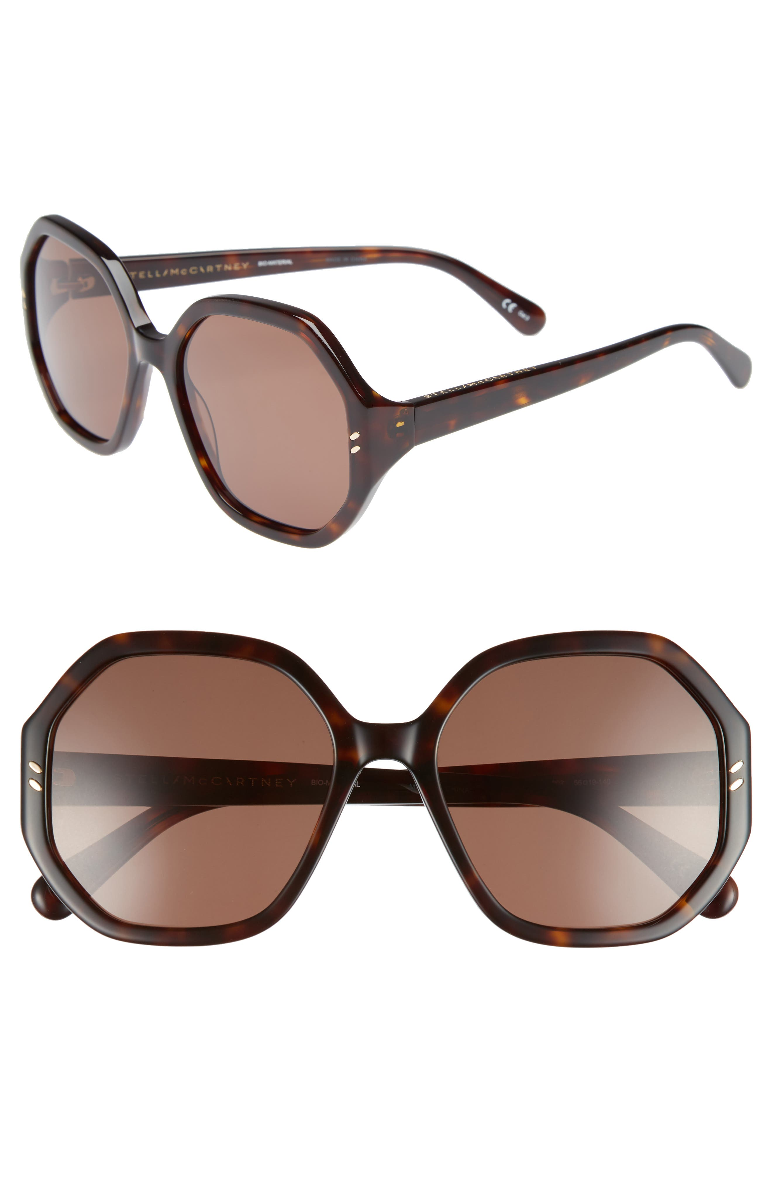 56mm Hexagonal Sunglasses,                         Main,                         color, Dark Havana