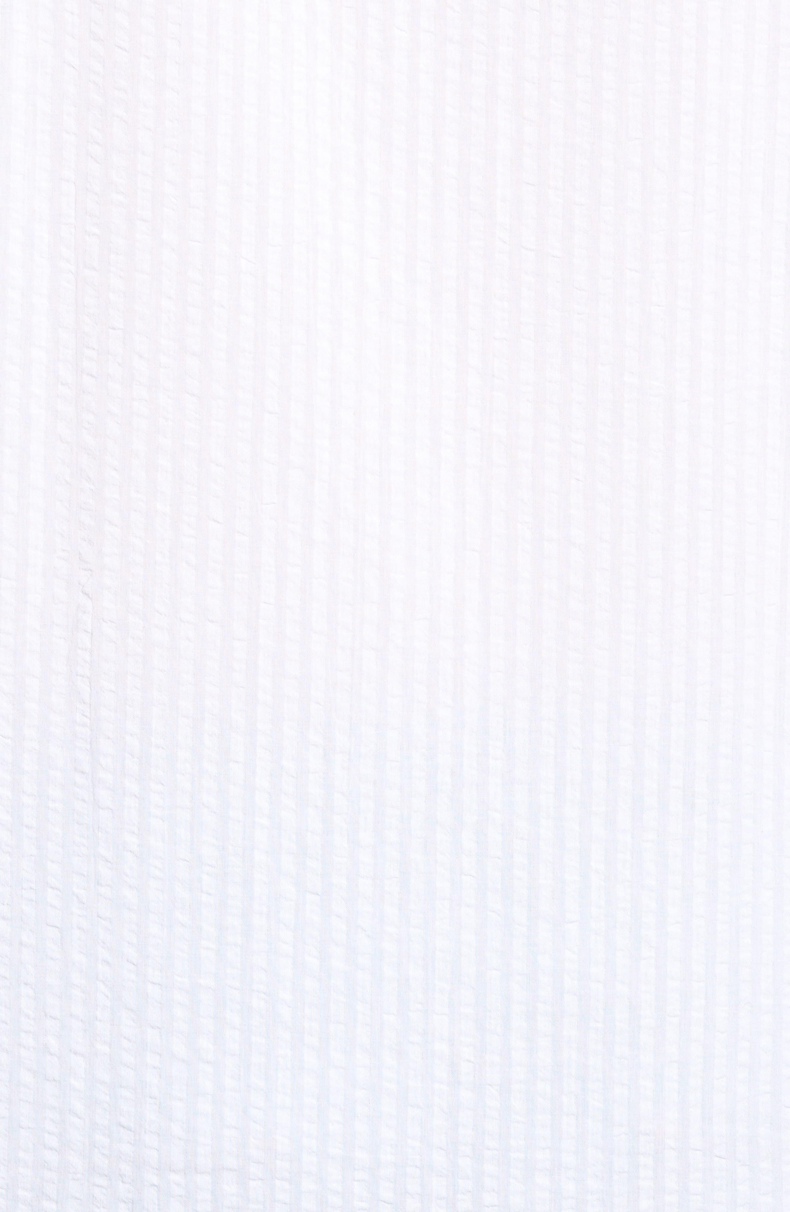 Shaped Fit Band Collar Seersucker Sport Shirt,                             Alternate thumbnail 5, color,                             White