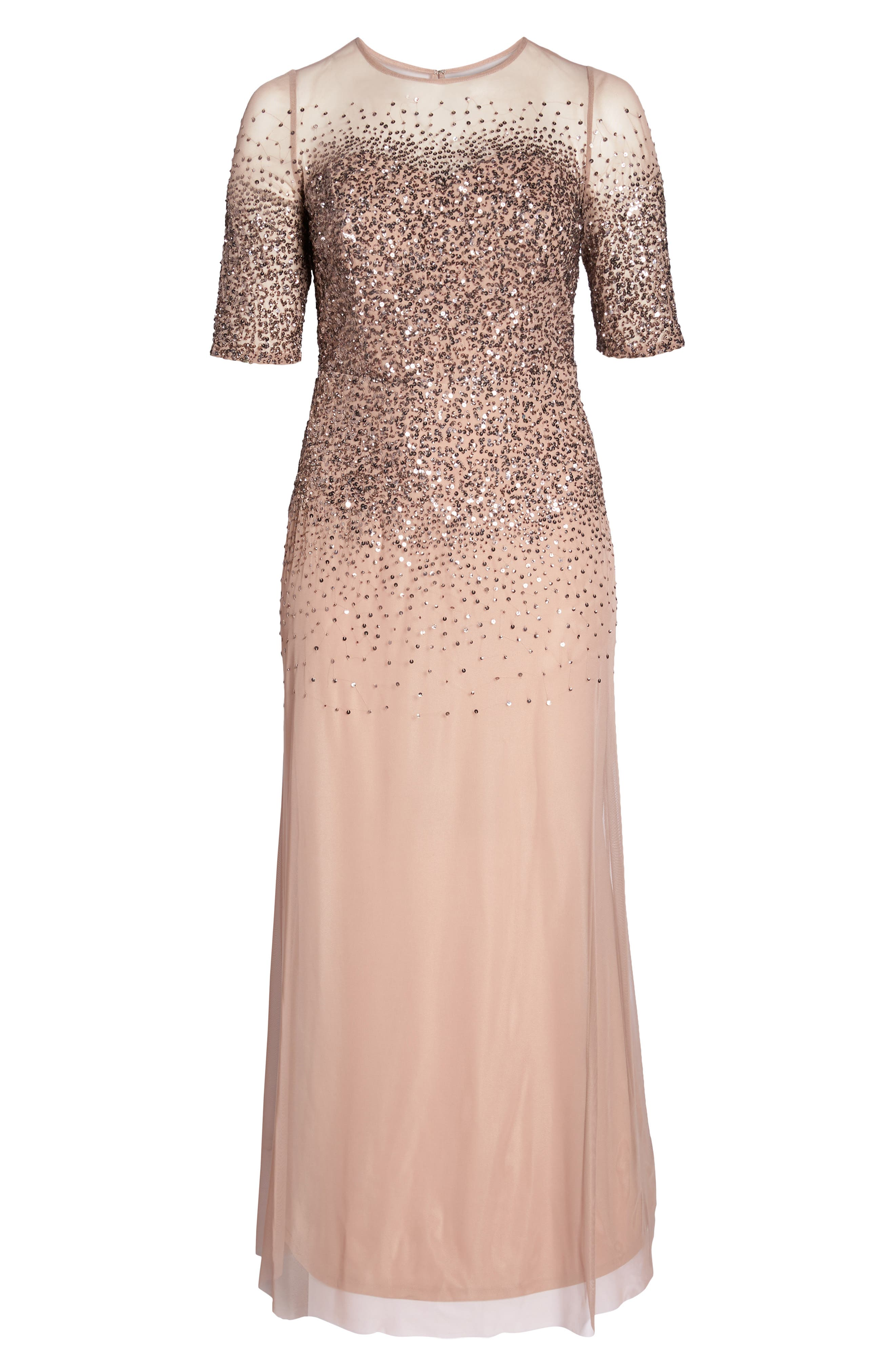 Beaded Illusion Gown,                         Main,                         color, Rose Gold