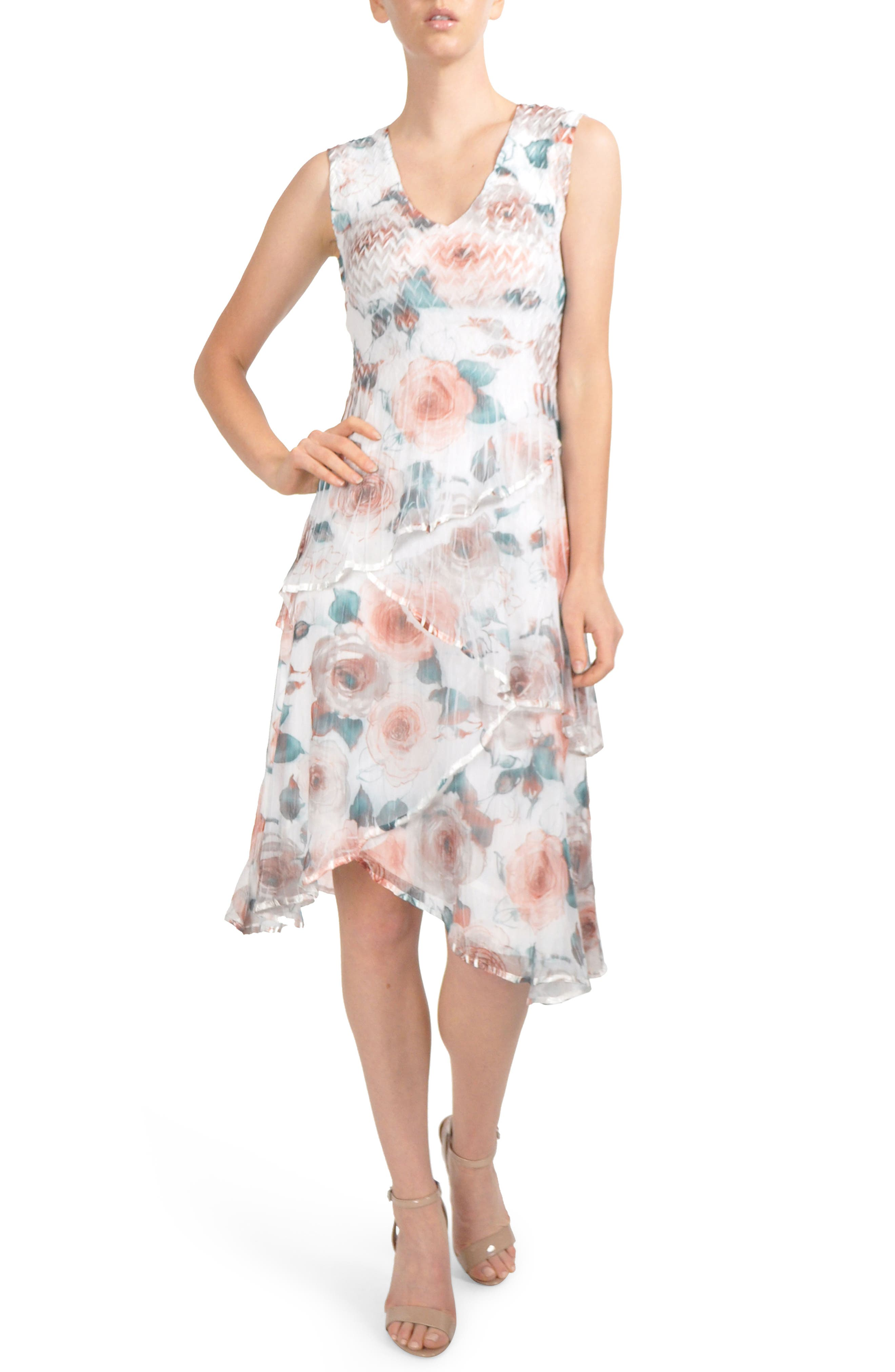 Tiered Chiffon Dress with Wrap,                         Main,                         color, Rose Vine