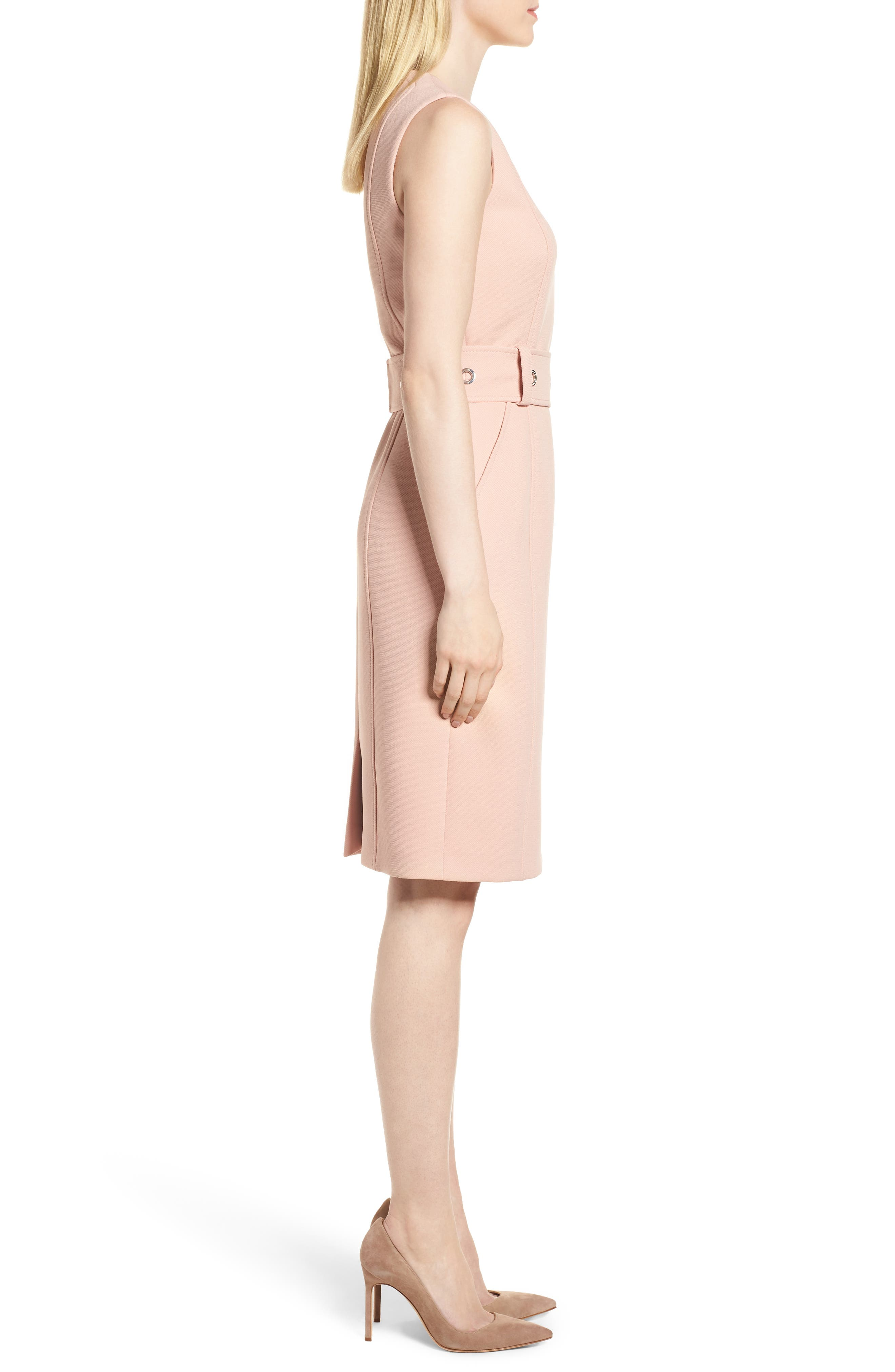 Duleama Compact Twill Dress,                             Alternate thumbnail 3, color,                             Blush