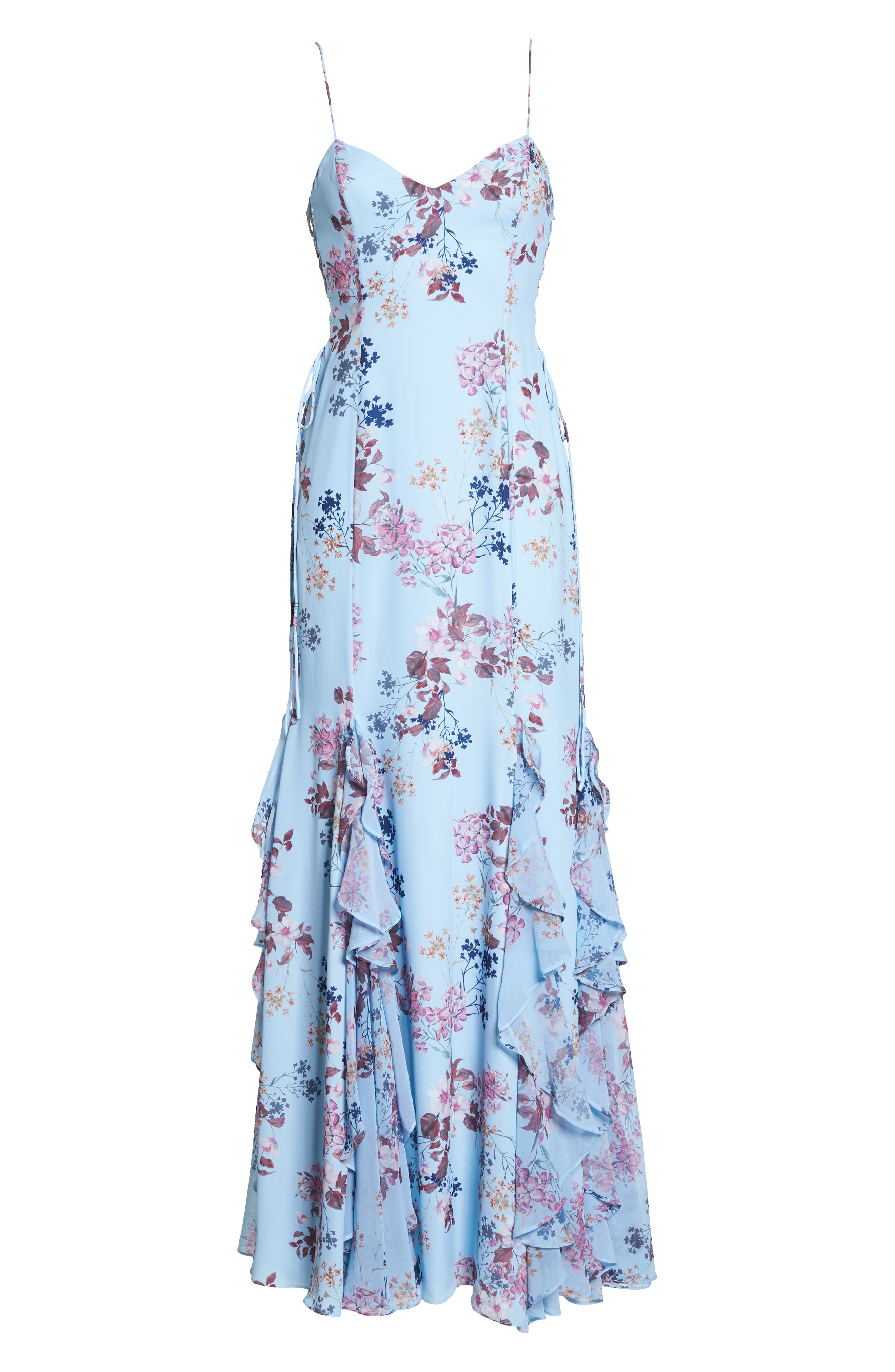 Anna Lace-Up Trumpet Gown,                             Alternate thumbnail 6, color,                             Rustic Floral