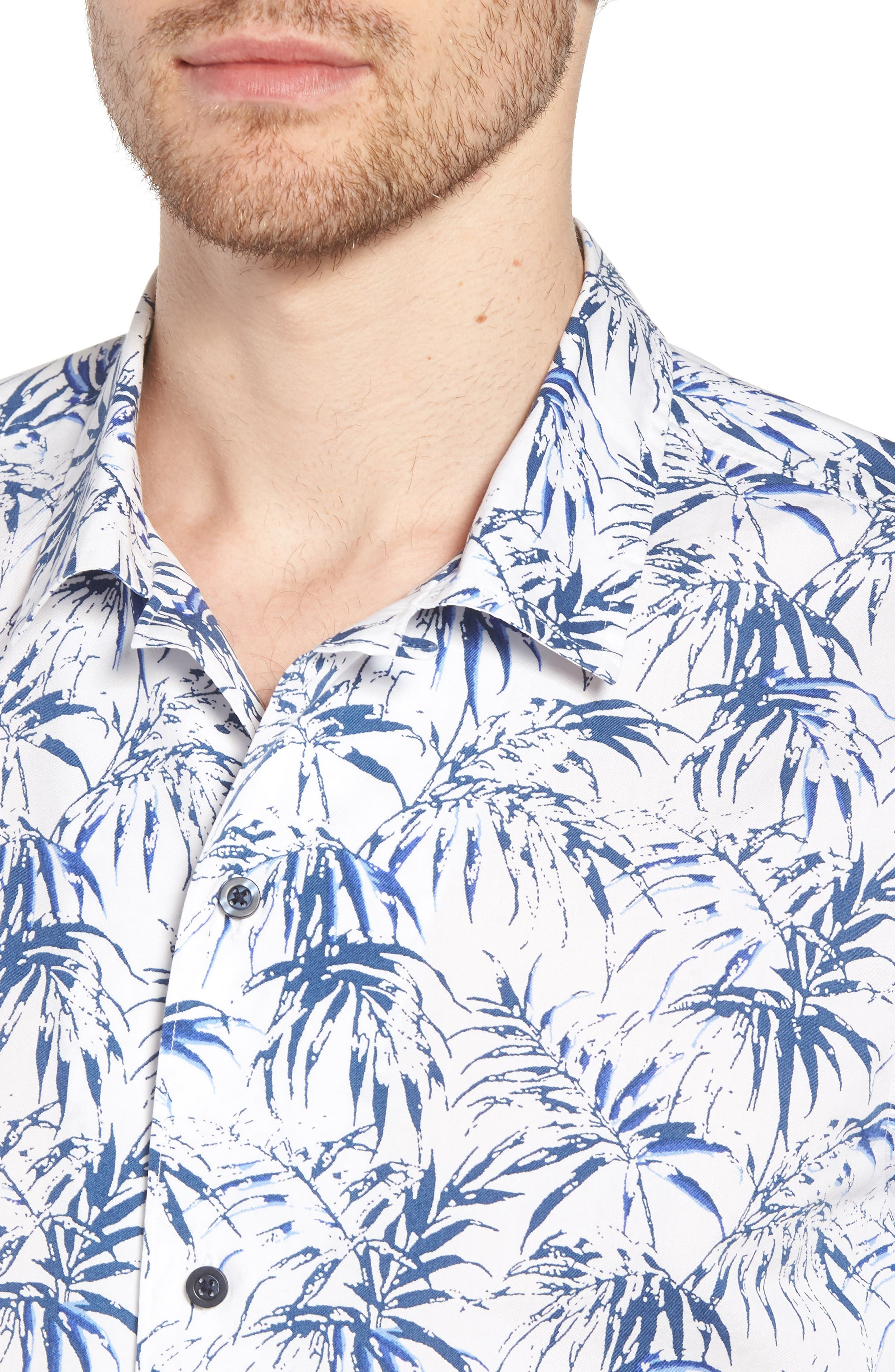 Trim Fit Palm Print Camp Shirt,                             Alternate thumbnail 2, color,                             White Navy Stamped Palms