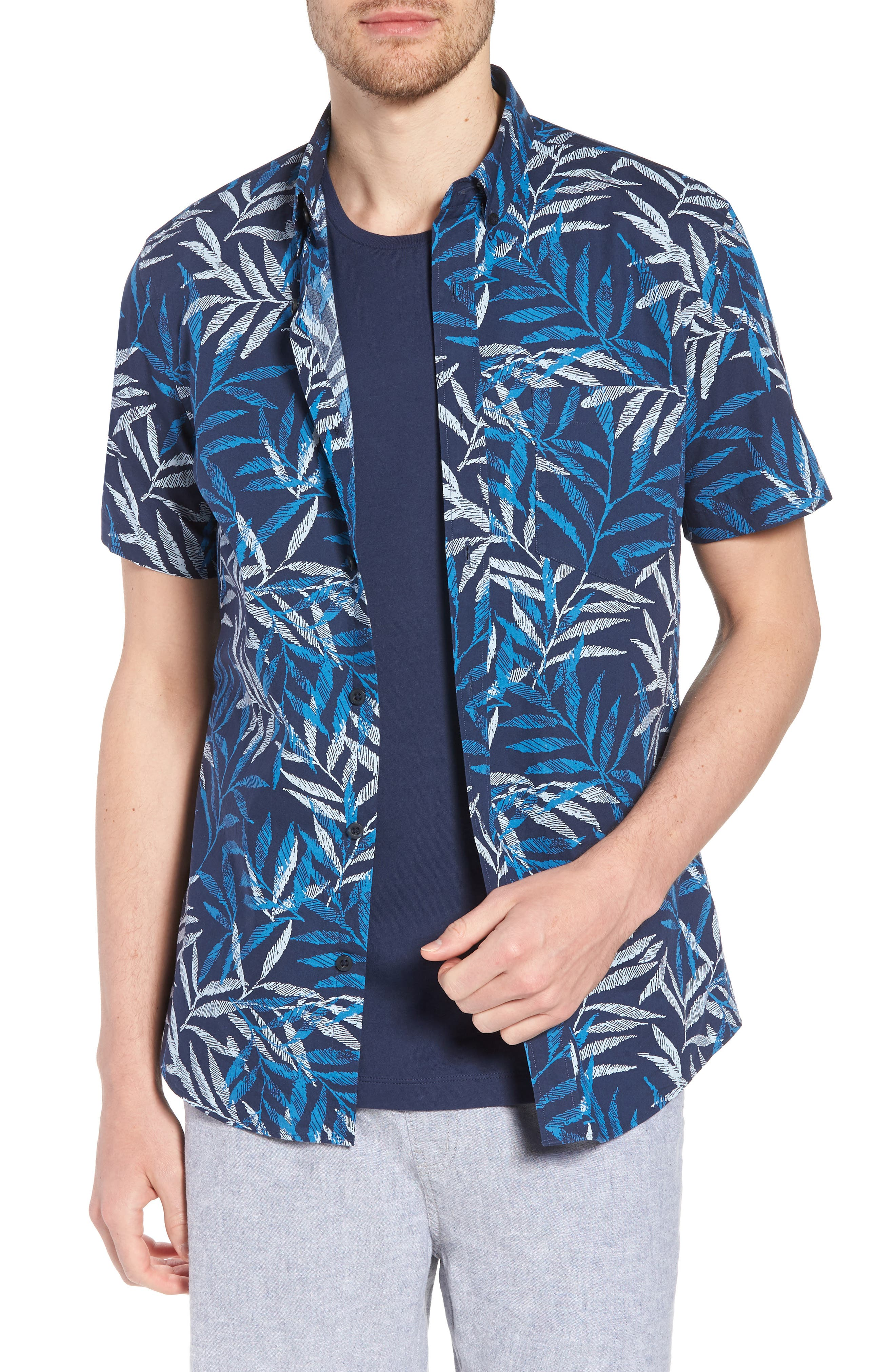 Trim Fit Print Short Sleeve Sport Shirt,                         Main,                         color, Blue Dark Etched Leaves