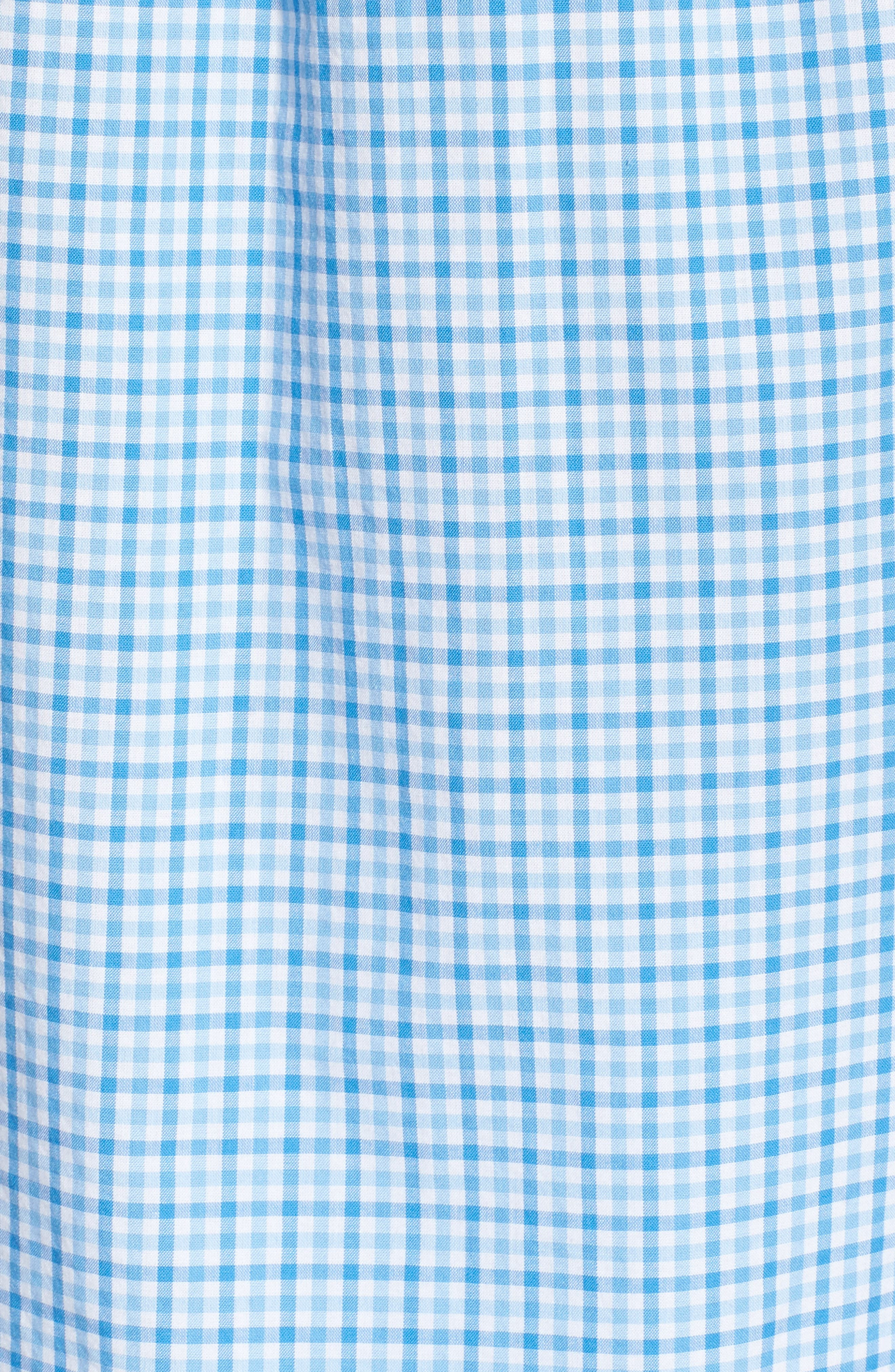 Tipsy Turtle Check Slim Fit Sport Shirt,                             Alternate thumbnail 5, color,                             Harbor Cay