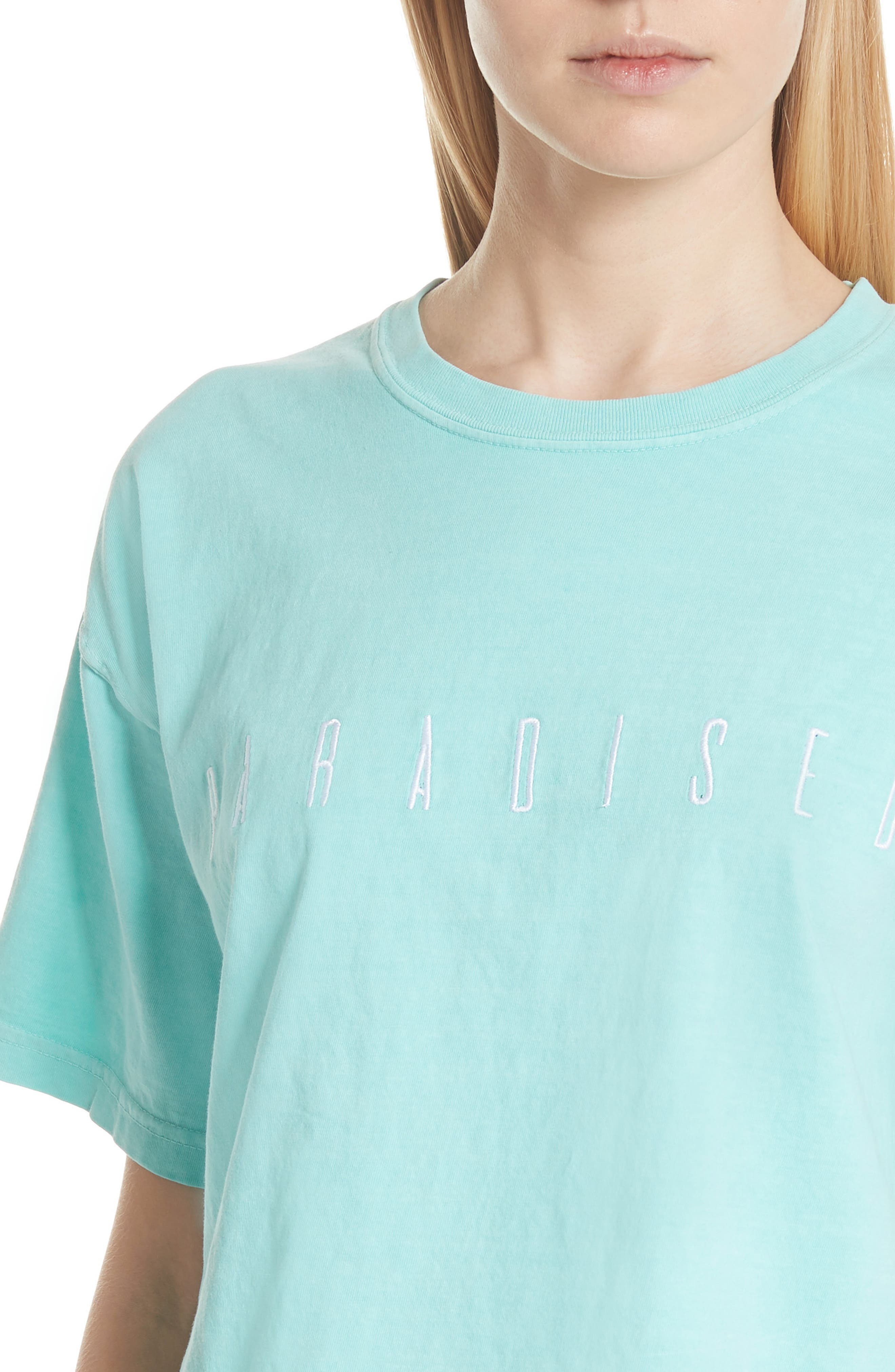 Logo Embroidered Boxy Tee,                             Alternate thumbnail 4, color,                             Mint