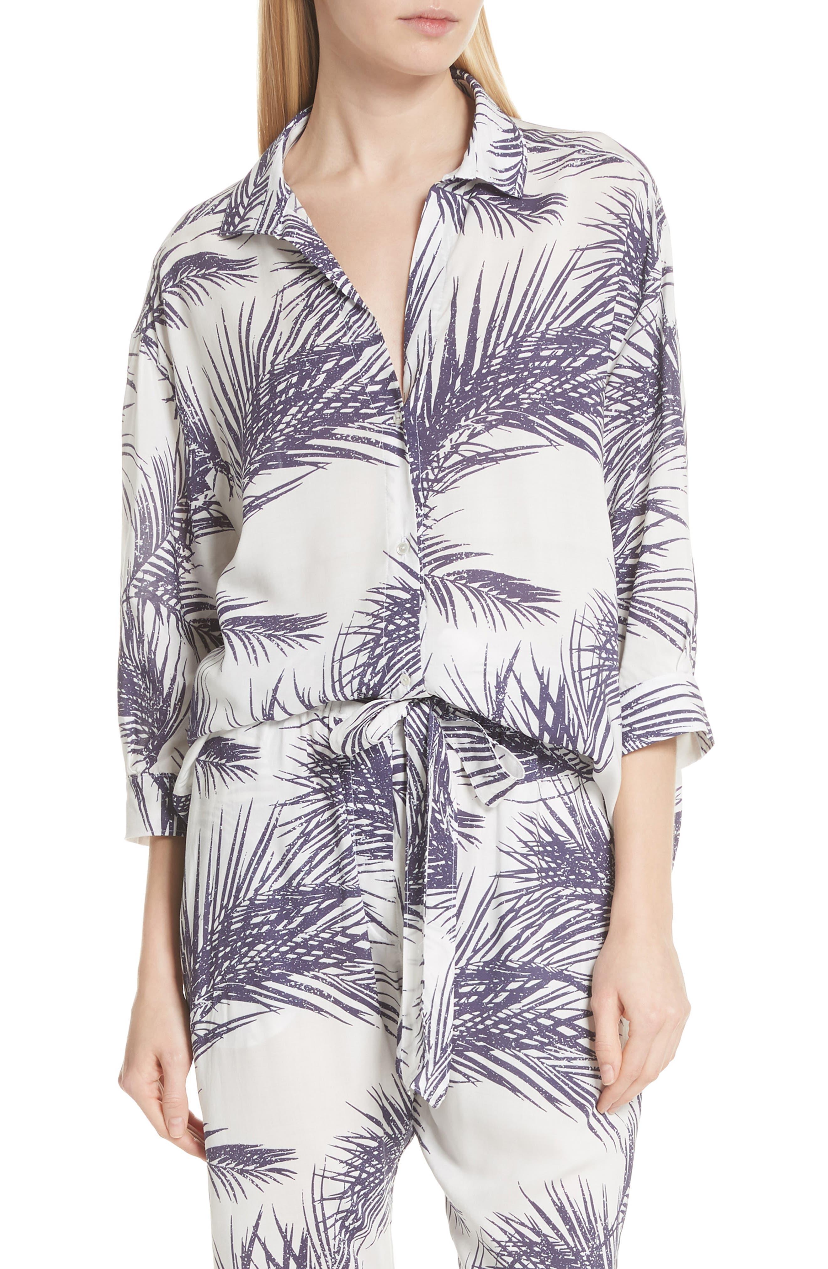 Palm Print Island Shirt,                             Main thumbnail 1, color,                             White/ Dark Purple