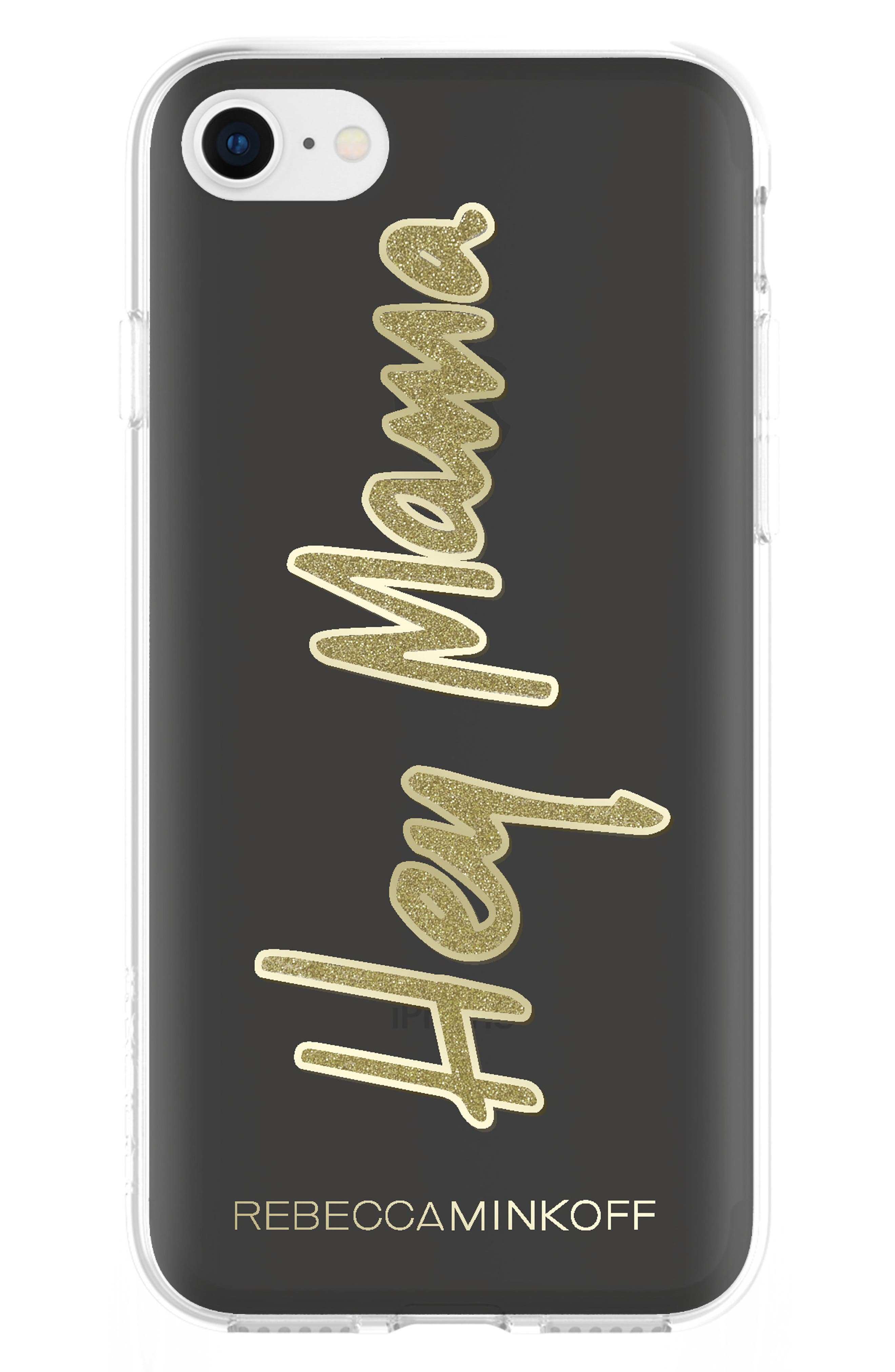 Hey Mama iPhone 7/8 & 7/8 Plus Case,                             Main thumbnail 1, color,                             Black/ Gold Glitter