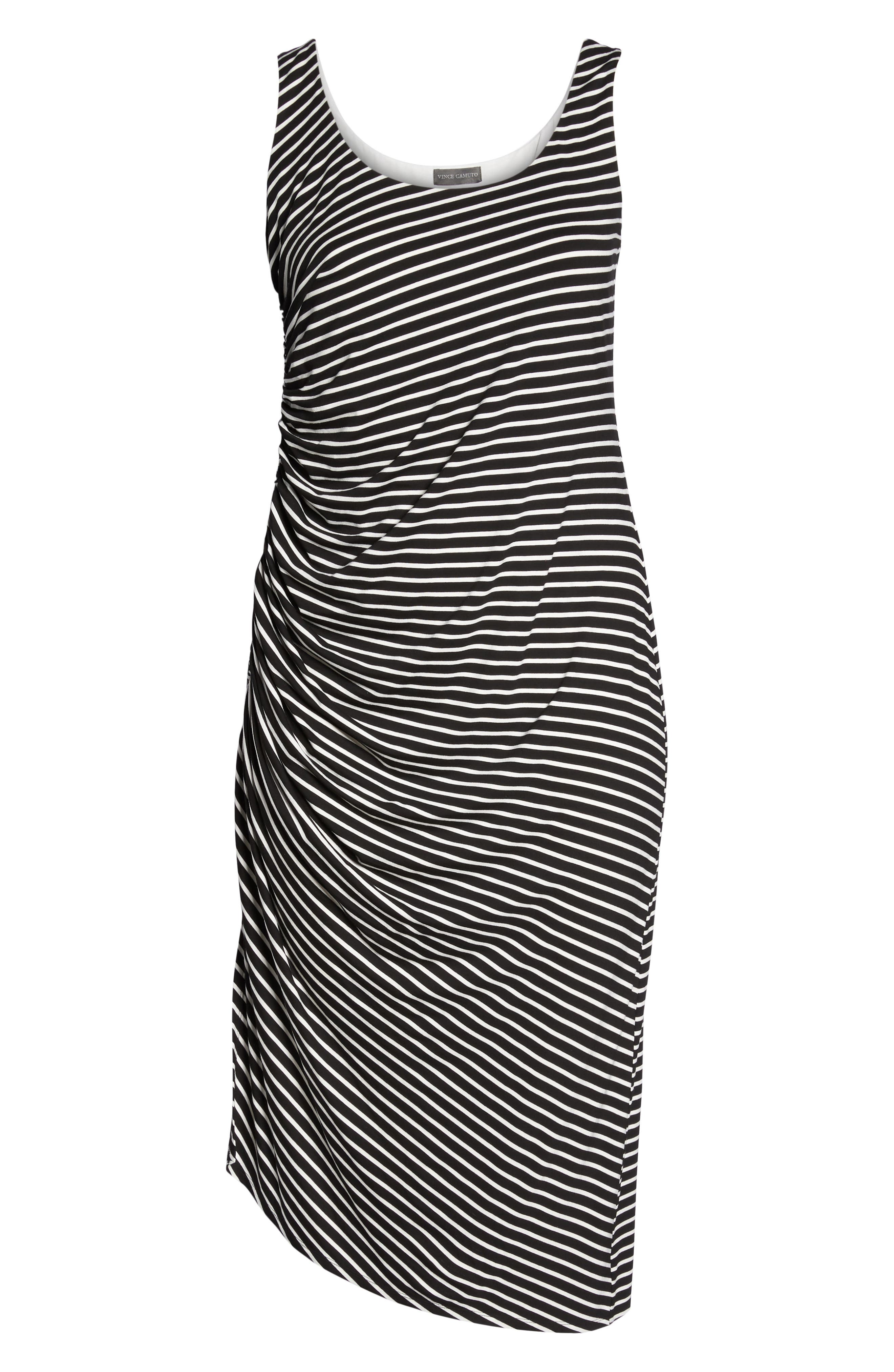 Amalfi Side Ruched Stripe Body-Con Dress,                             Alternate thumbnail 6, color,                             Rich Black