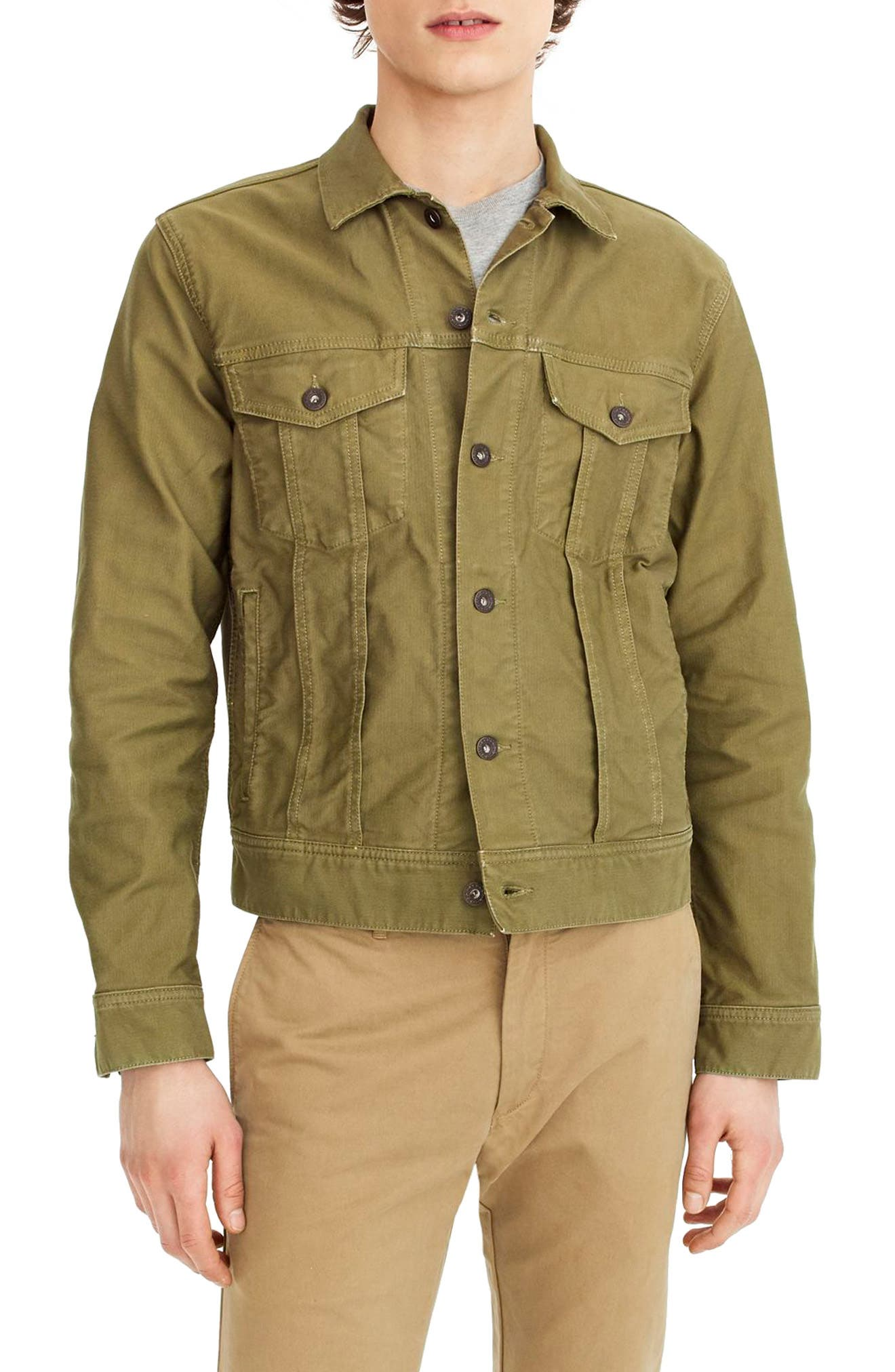 Garment Dyed Bedford Cord Trucker Jacket,                         Main,                         color, Sun Faded Olive