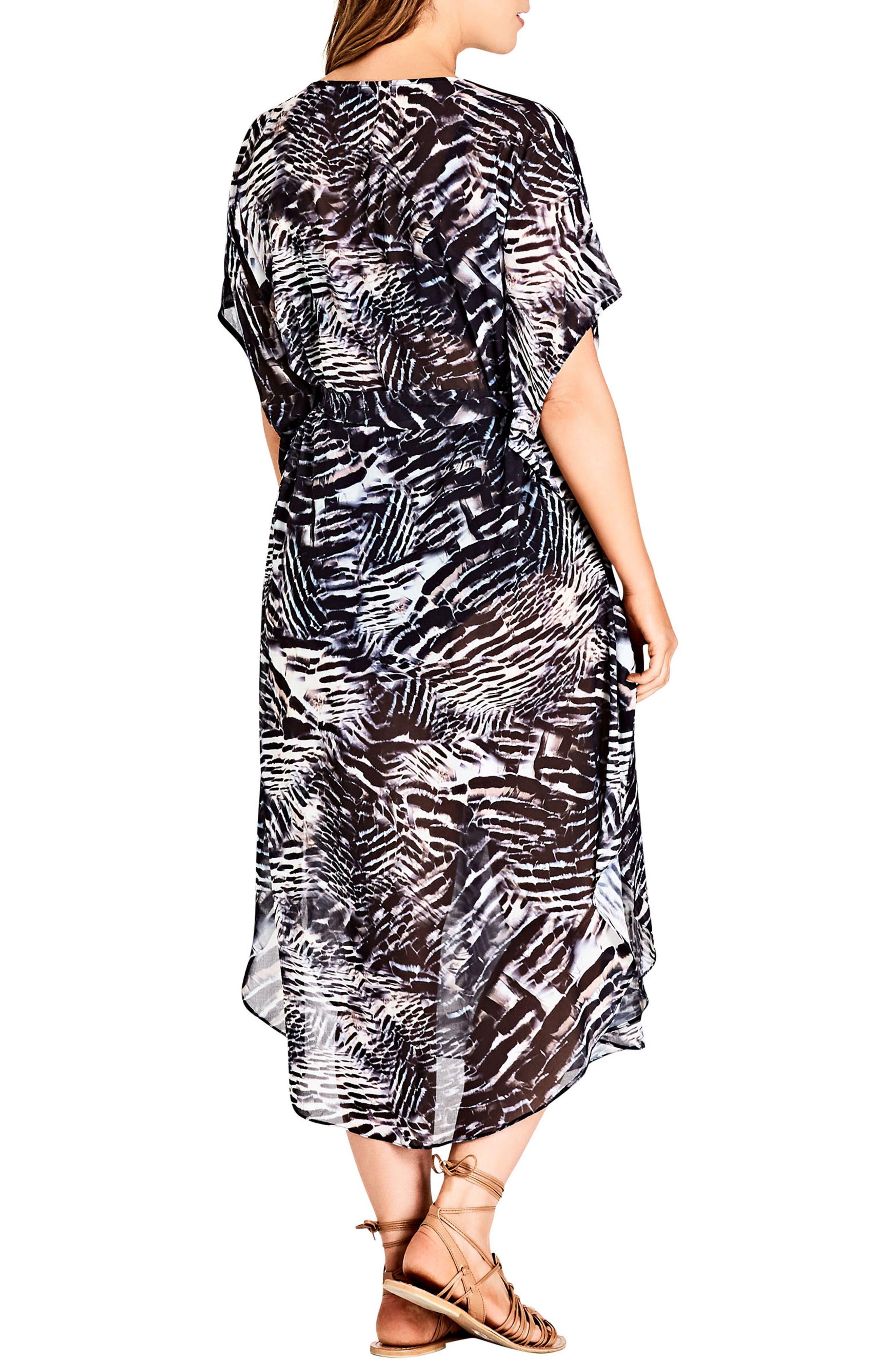 Sahara Caftan Dress,                             Alternate thumbnail 2, color,                             Black Print