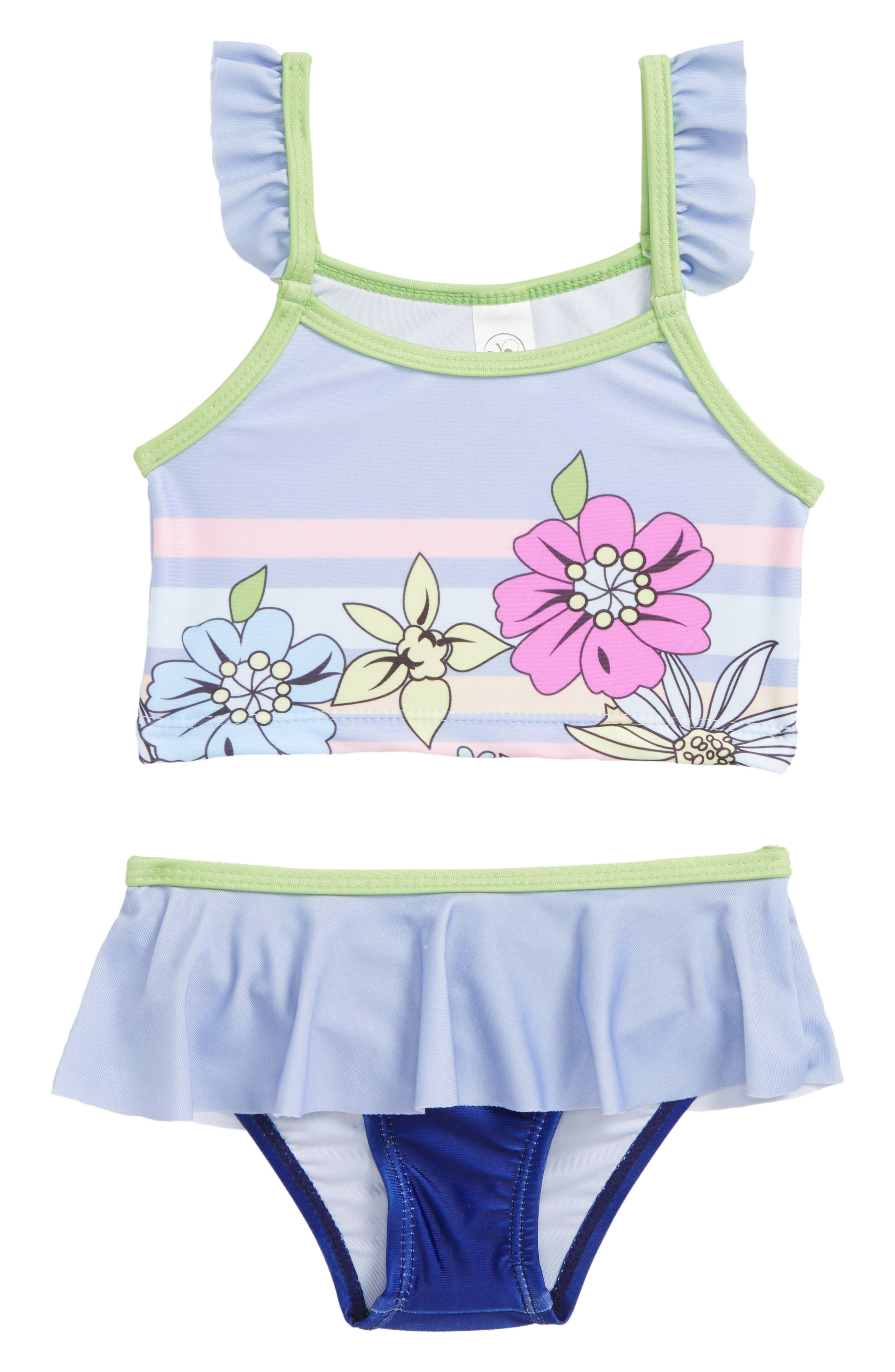 Ruffle Two-Piece Swimsuit,                             Main thumbnail 1, color,                             Periwinkle