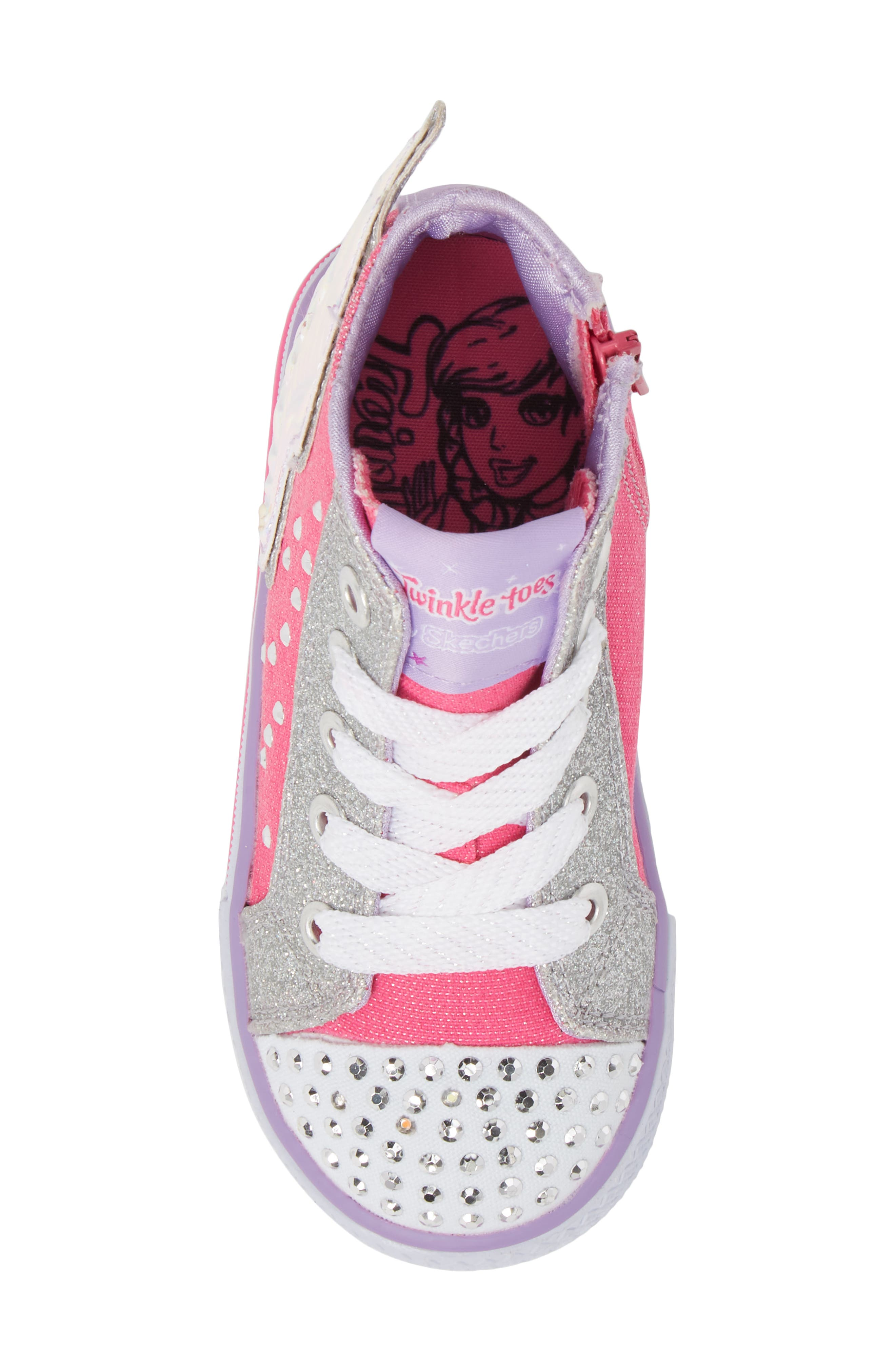 Twinkle Toes Shuffles Fooling Flutters Light-Up High Top Sneaker,                             Alternate thumbnail 5, color,                             Hot Pink/ Silver