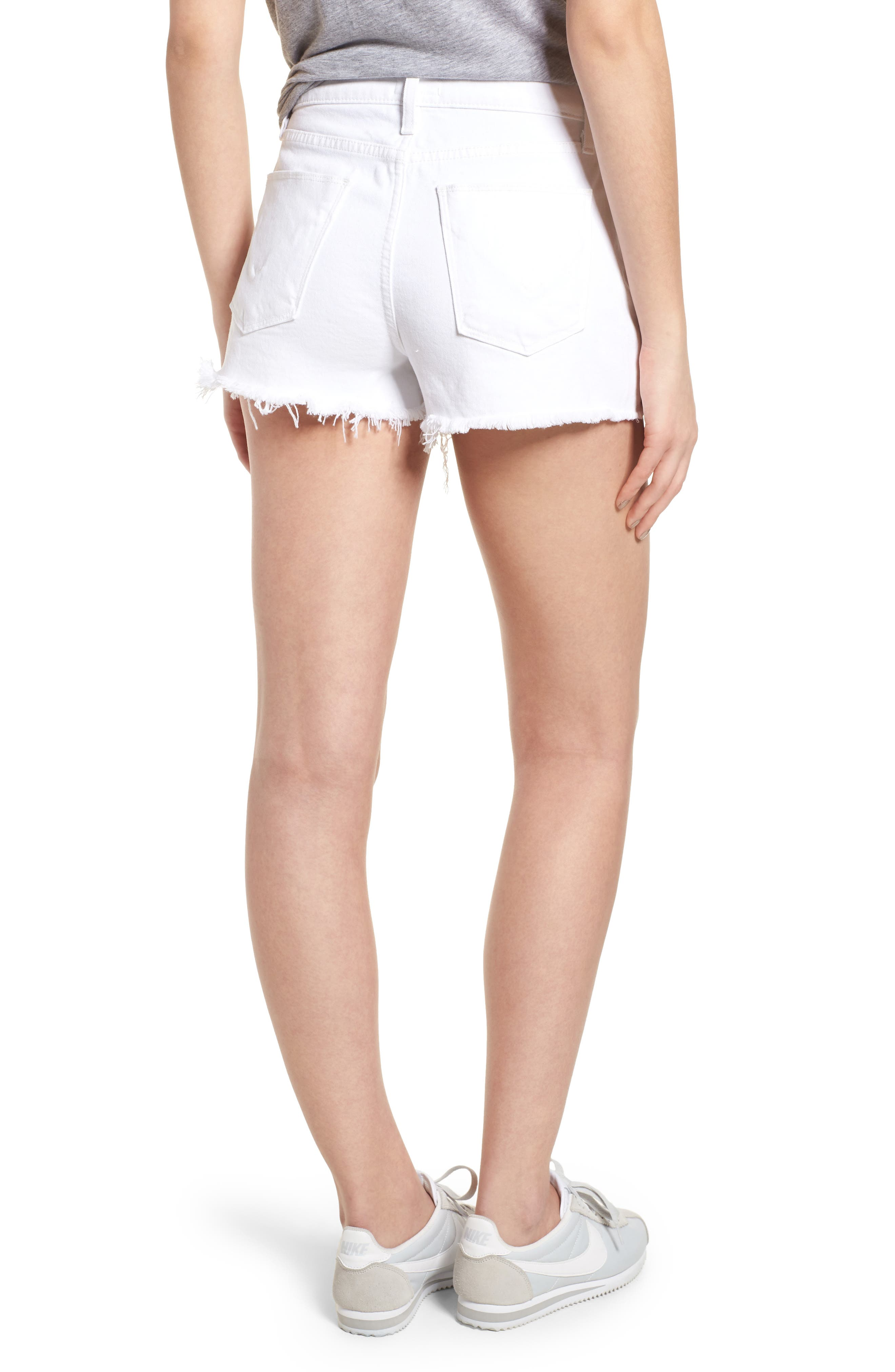 Zoeey Button Fly High Waist Denim Shorts,                             Alternate thumbnail 2, color,                             White
