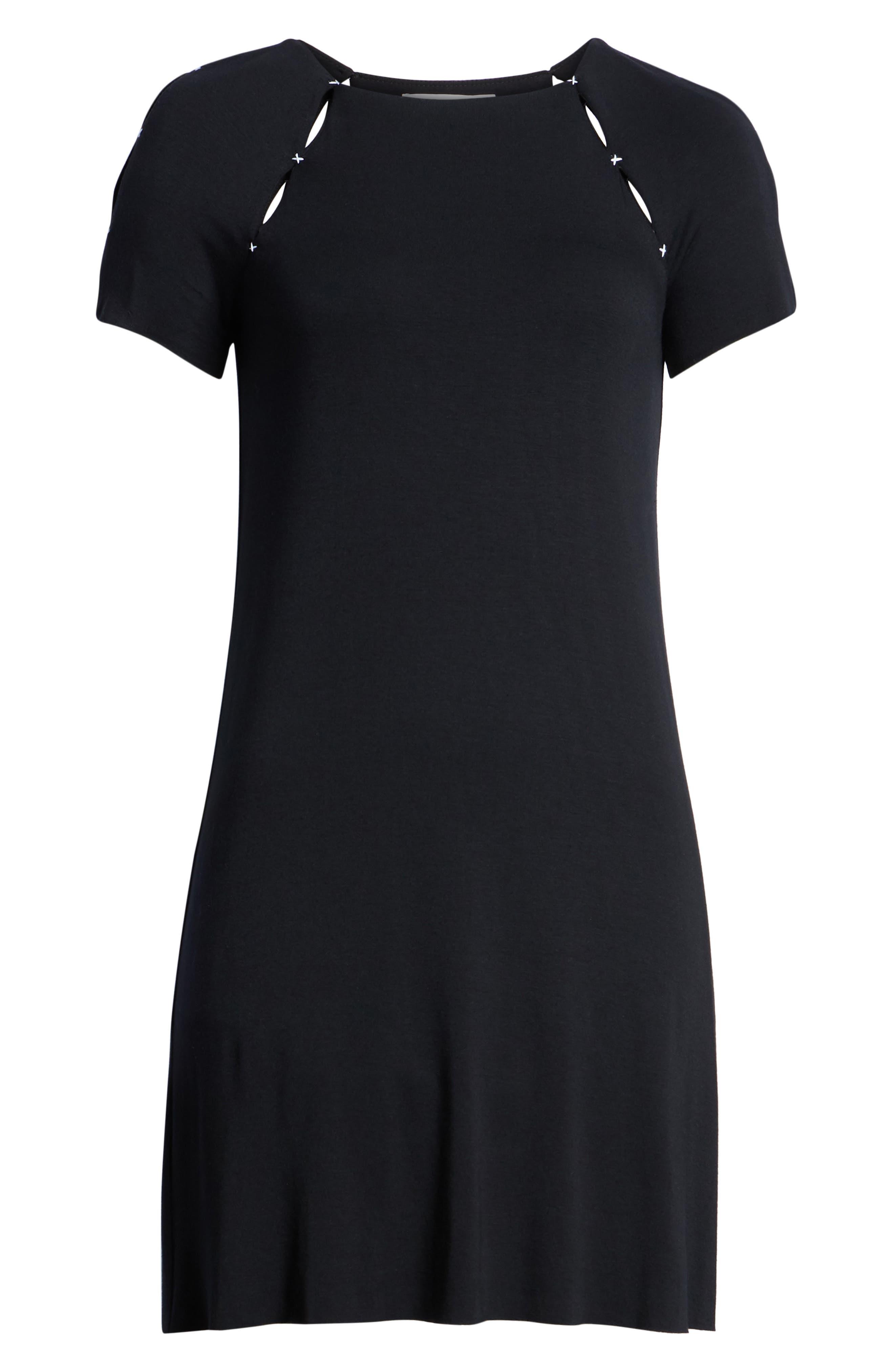 Dust-Up Cutout Minidress,                             Alternate thumbnail 7, color,                             Black