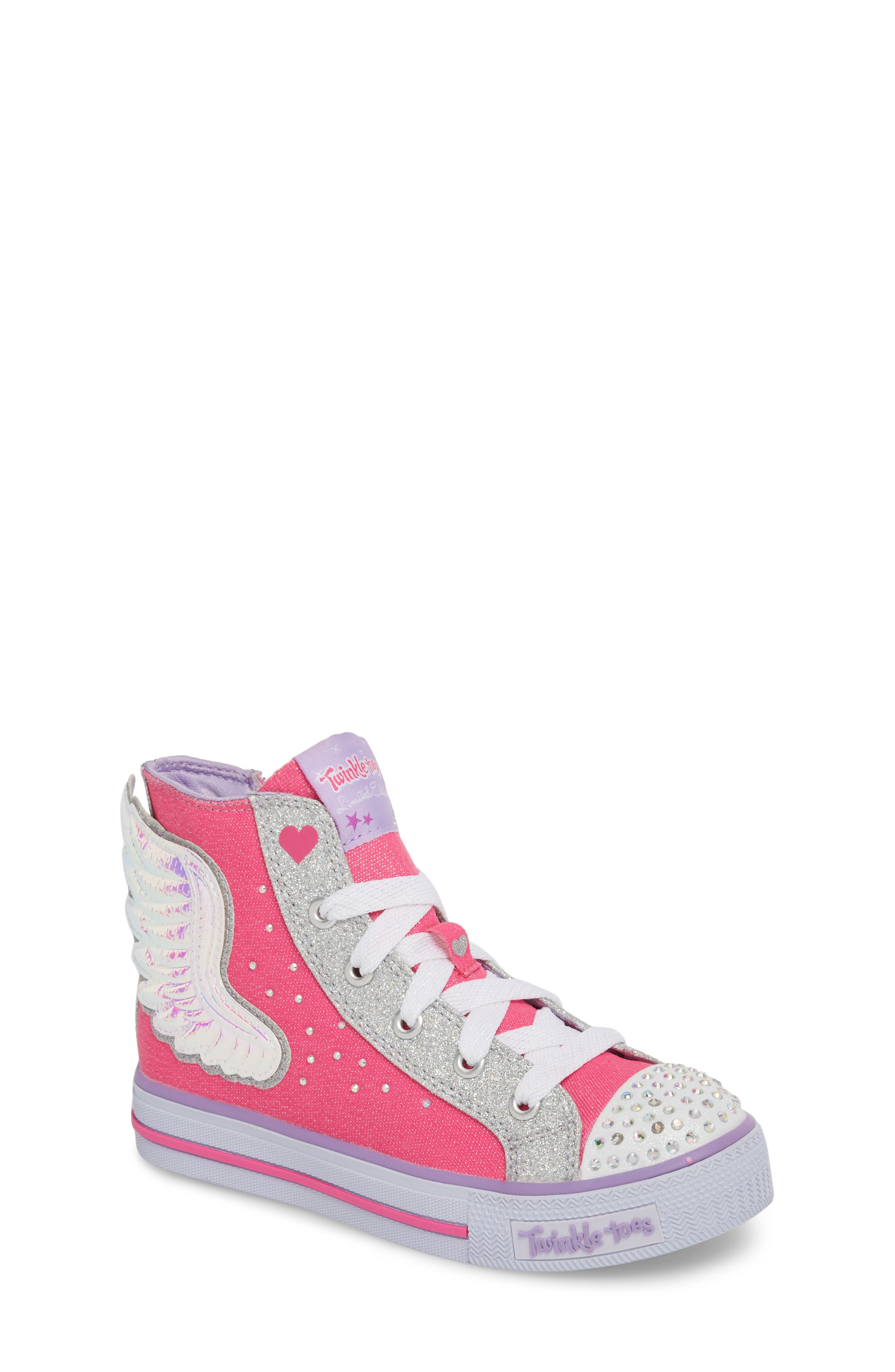 Twinkle Toes Shuffles Wonder Wings Light-Up High Top Sneaker,                             Main thumbnail 1, color,                             Hot Pink/ Silver