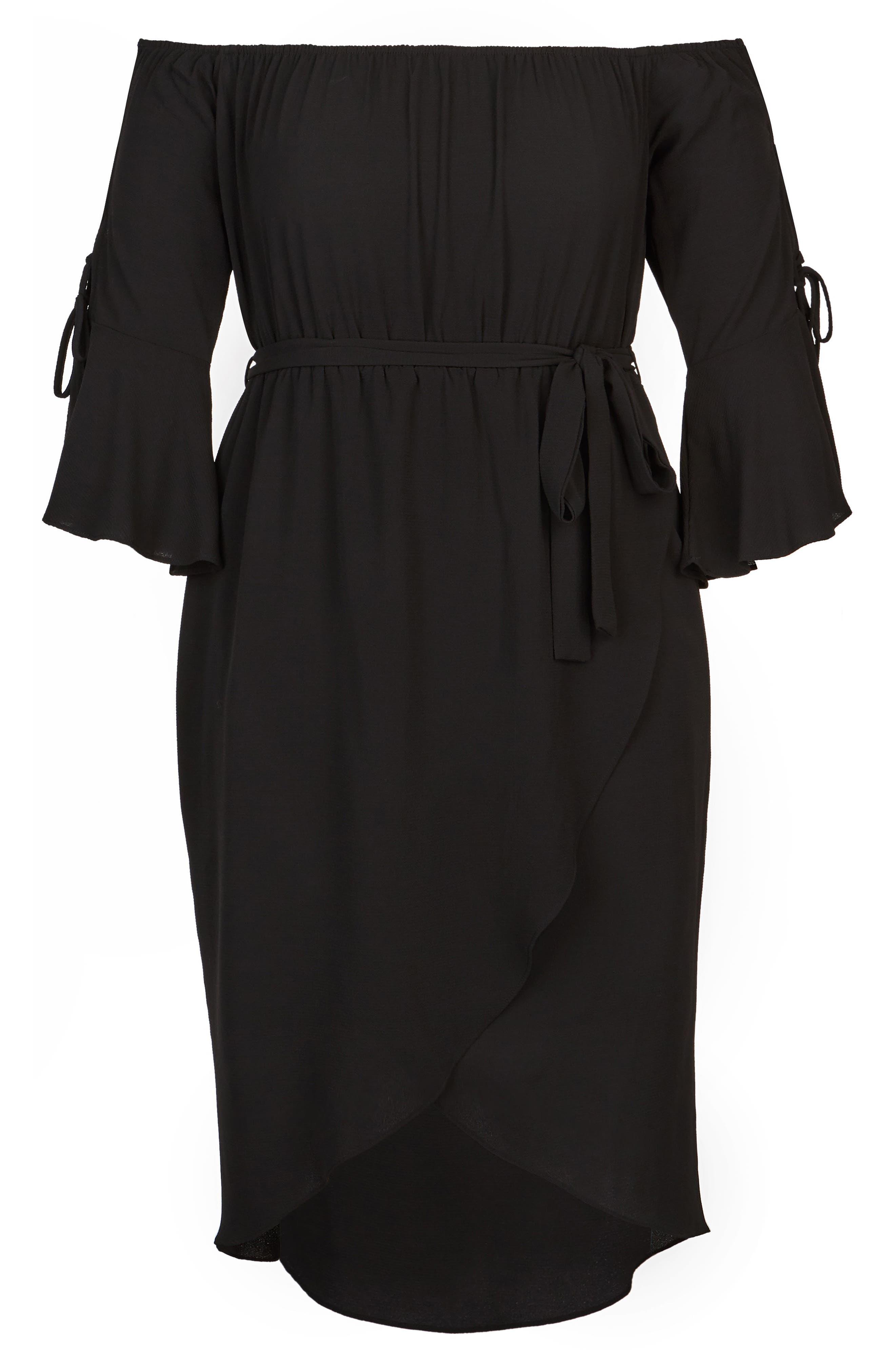 Lace Bell Sleeve Off the Shoulder Midi Dress,                             Alternate thumbnail 3, color,                             Black