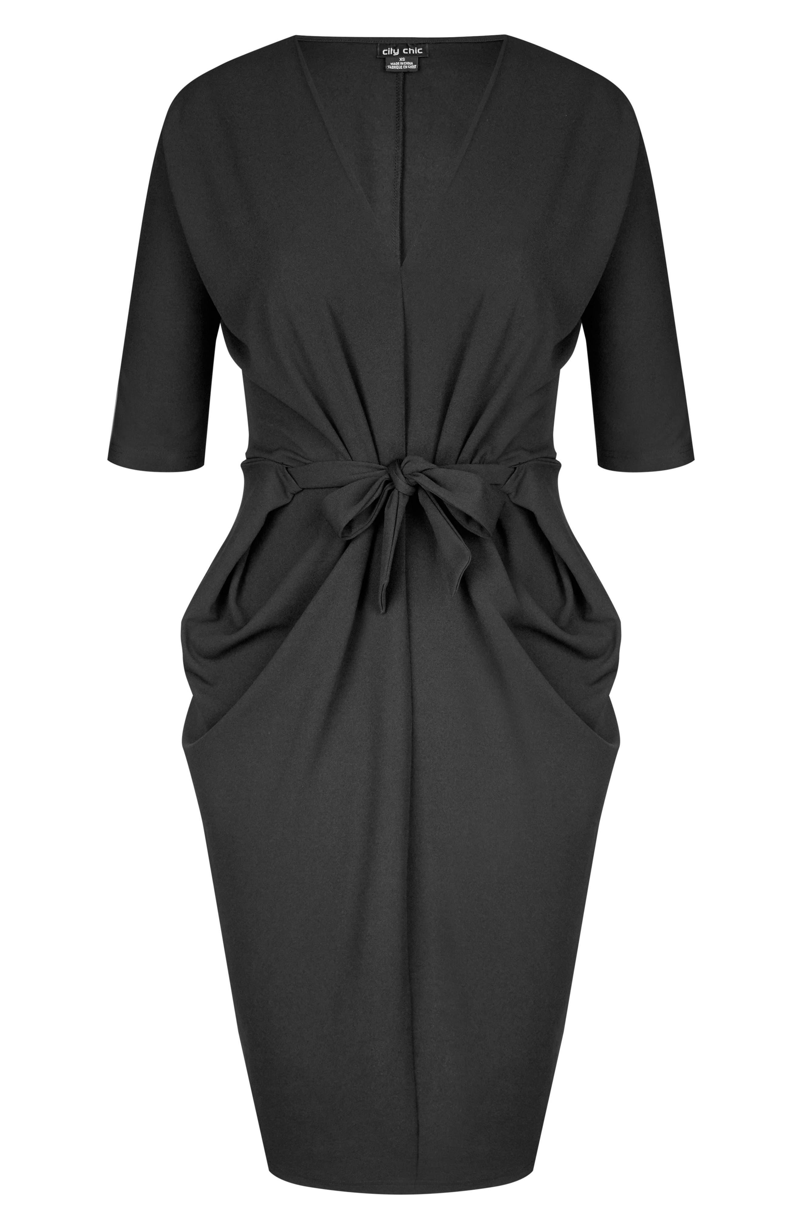 Tie Front Dress,                             Alternate thumbnail 3, color,                             Black