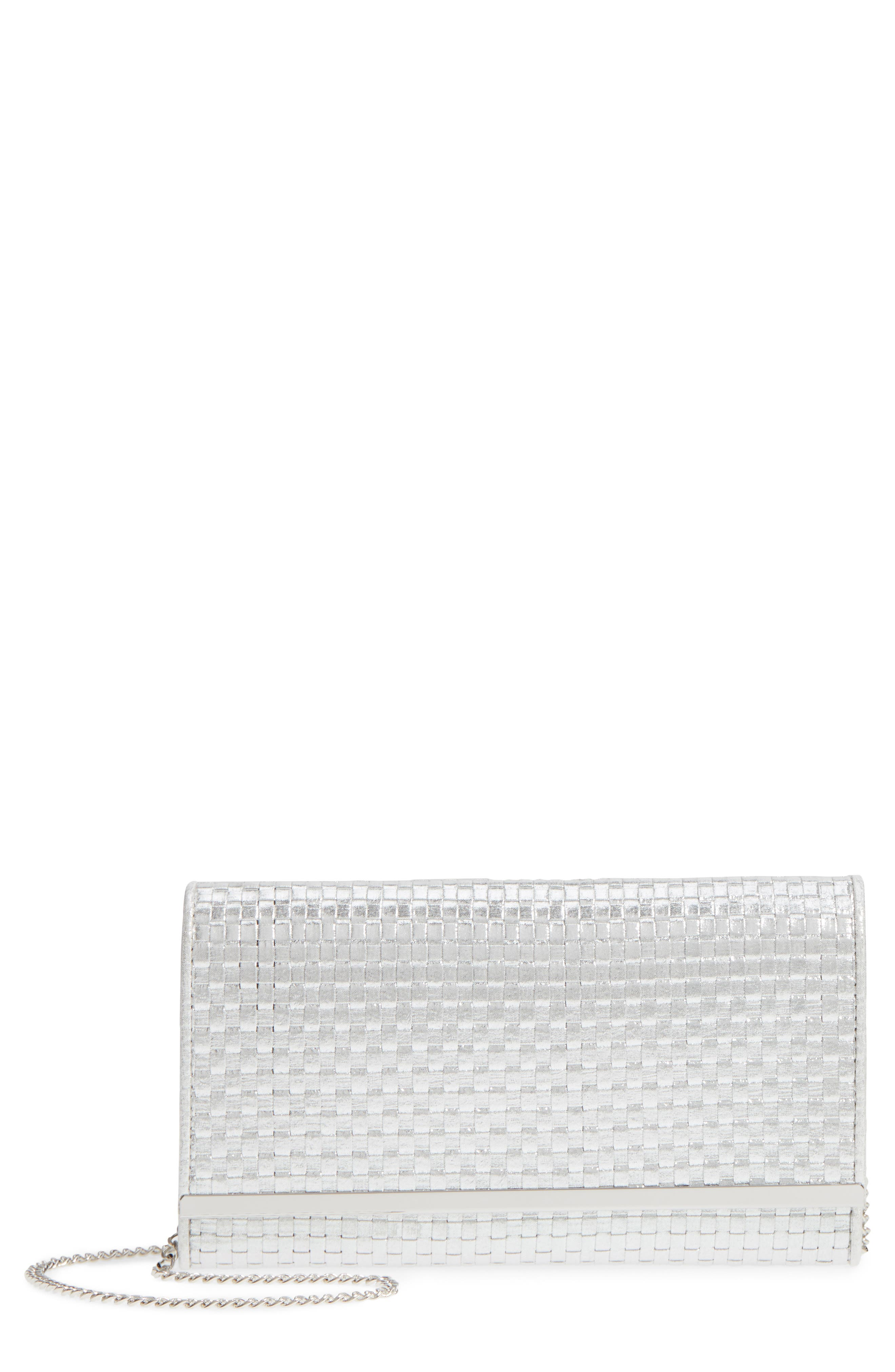 Woven Faux Leather Metallic Clutch,                             Main thumbnail 1, color,                             Silver