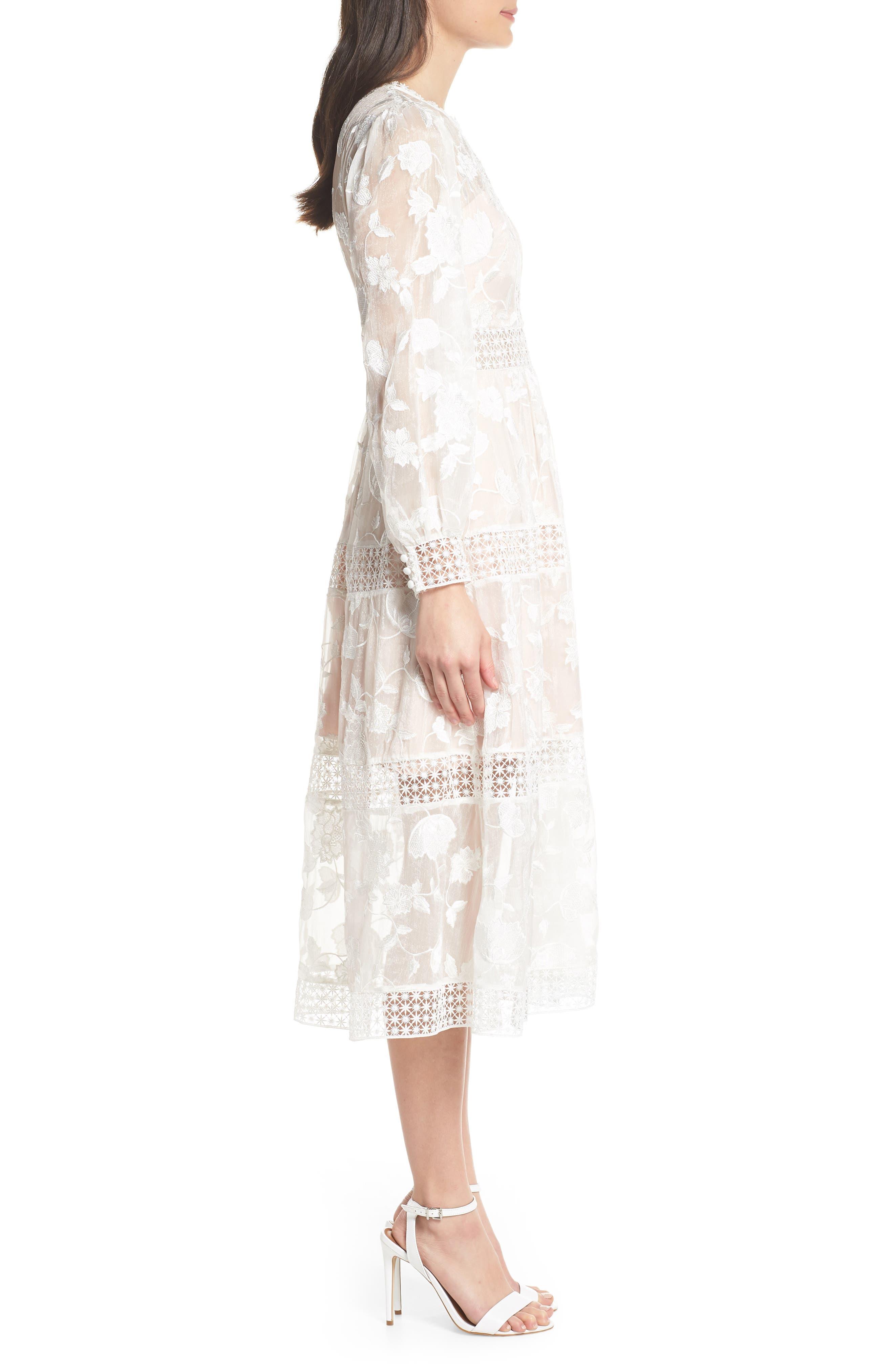 Floral Organza Tiered Midi Dress,                             Alternate thumbnail 3, color,                             Porcelain/ Pink