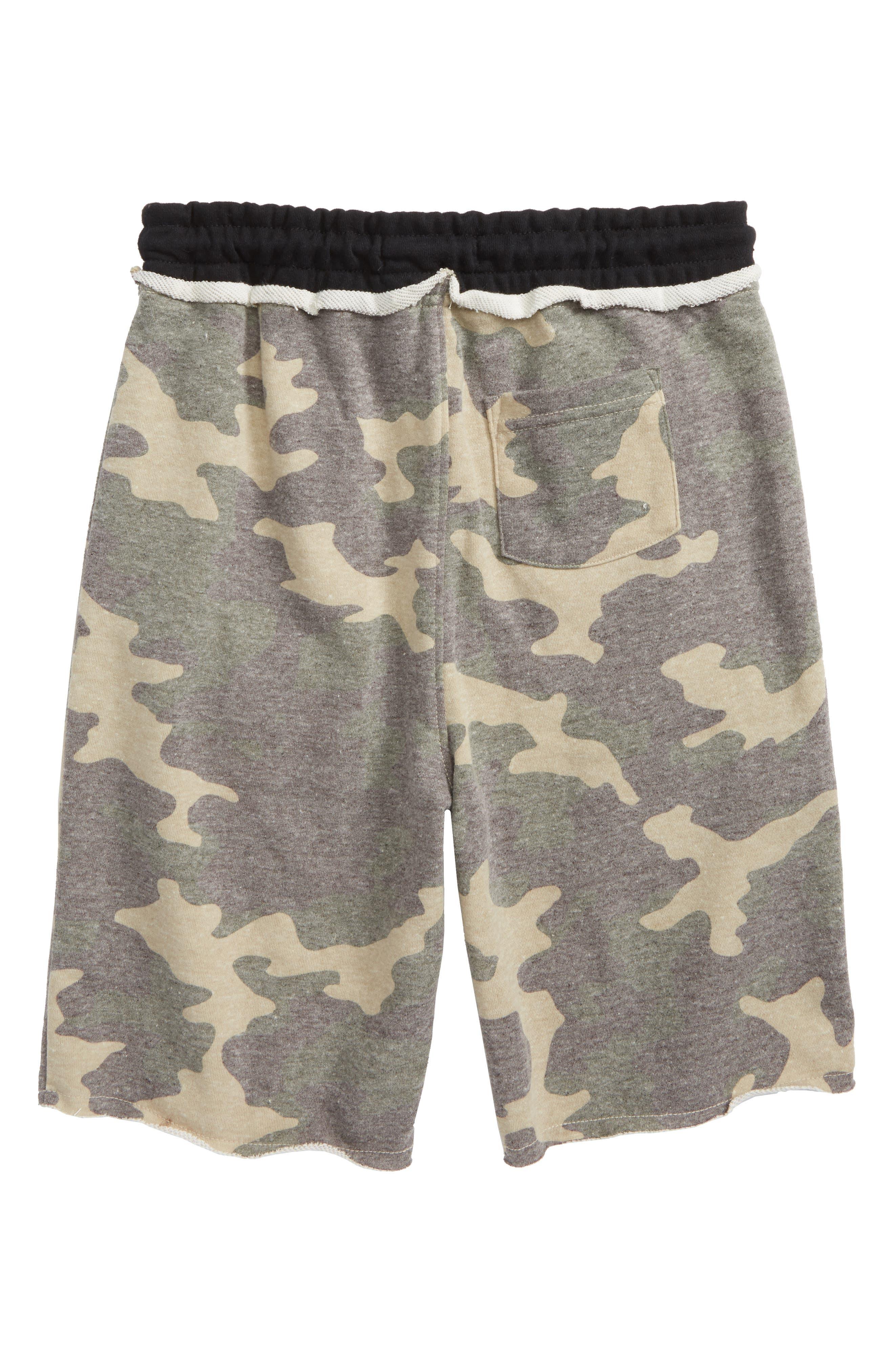 Raw Edge Shorts,                             Alternate thumbnail 2, color,                             Camo/ Black