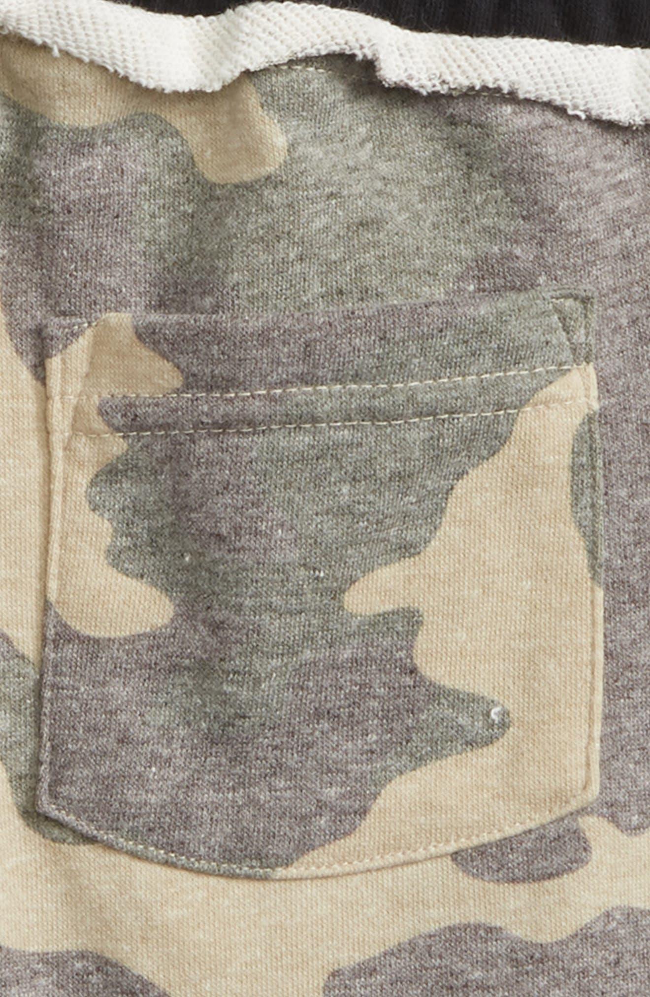 Raw Edge Shorts,                             Alternate thumbnail 3, color,                             Camo/ Black