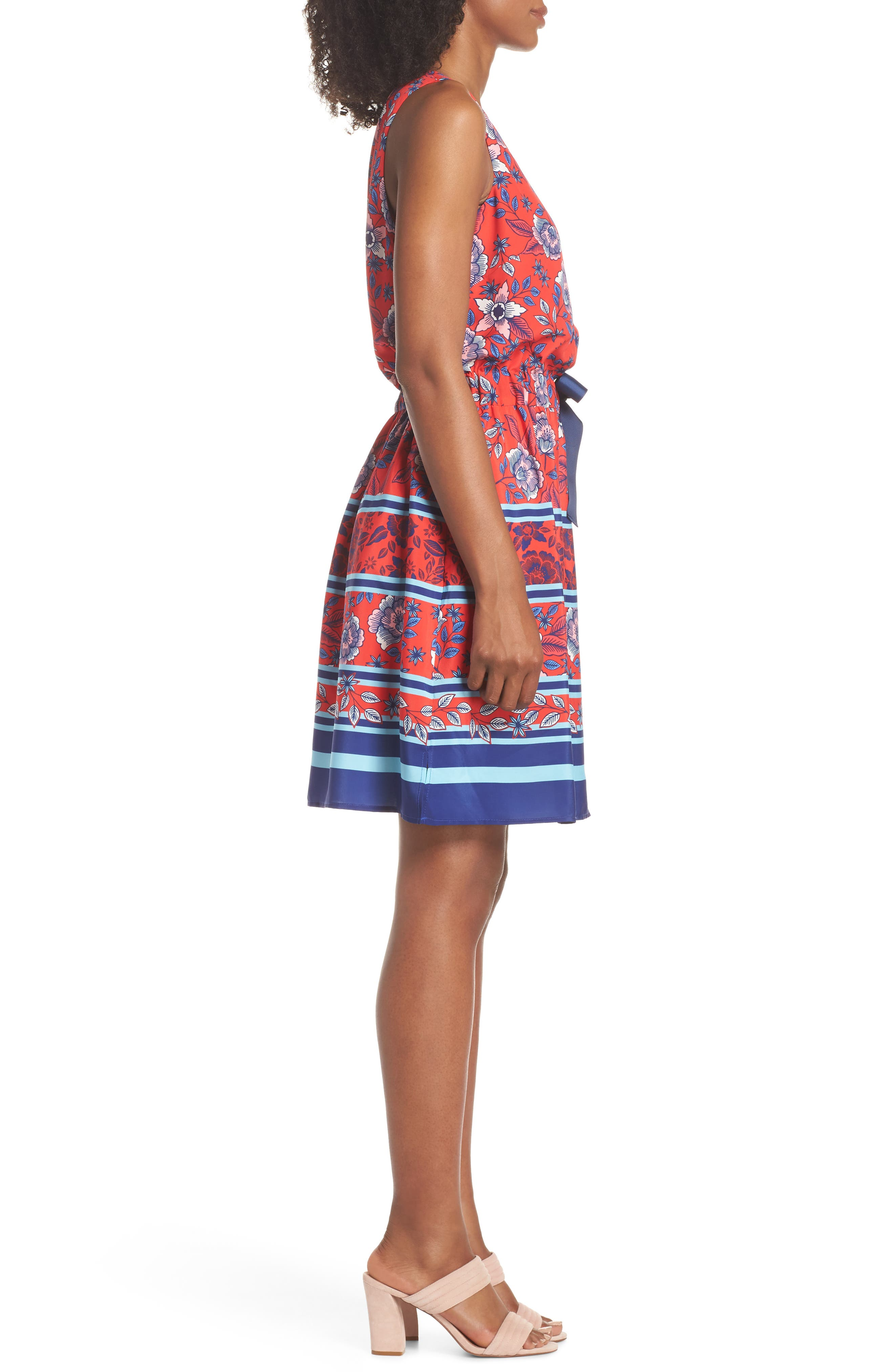 Built-In Tie Fit & Flare Dress,                             Alternate thumbnail 3, color,                             Red