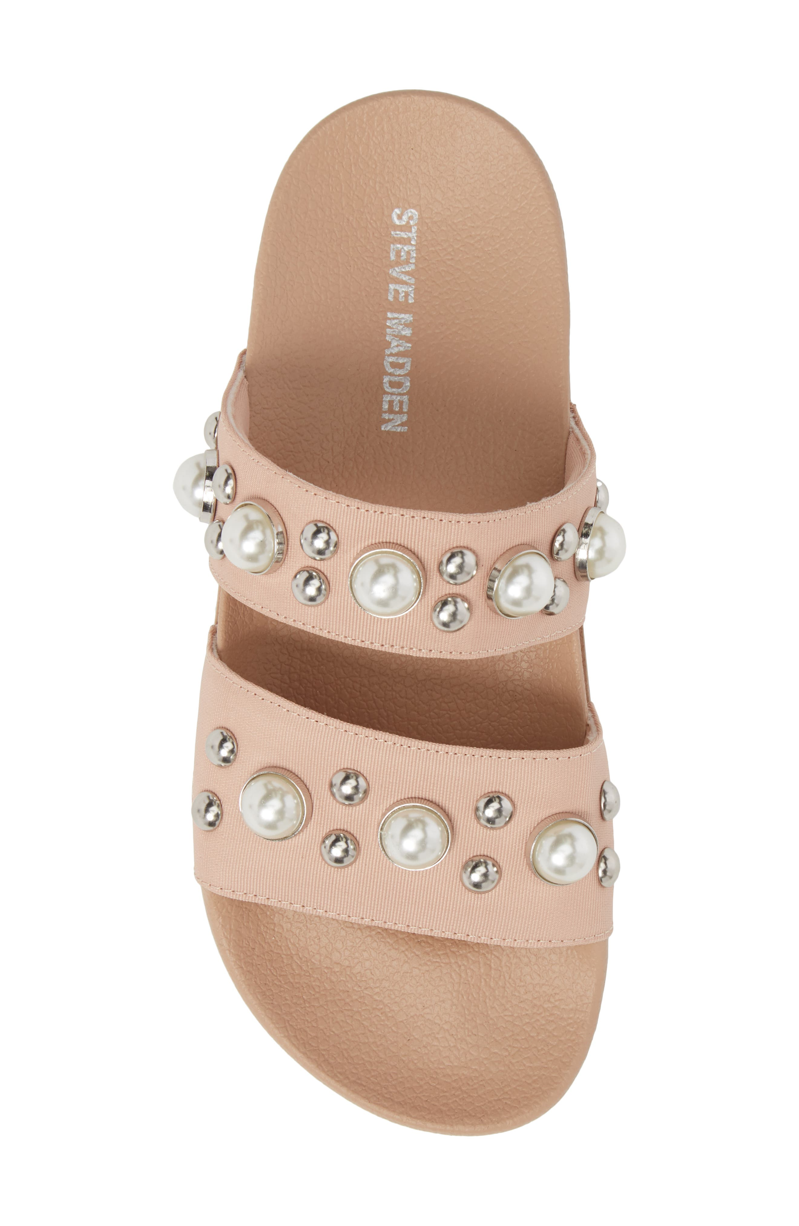Polite Embellished Slide Sandal,                             Alternate thumbnail 5, color,                             Blush