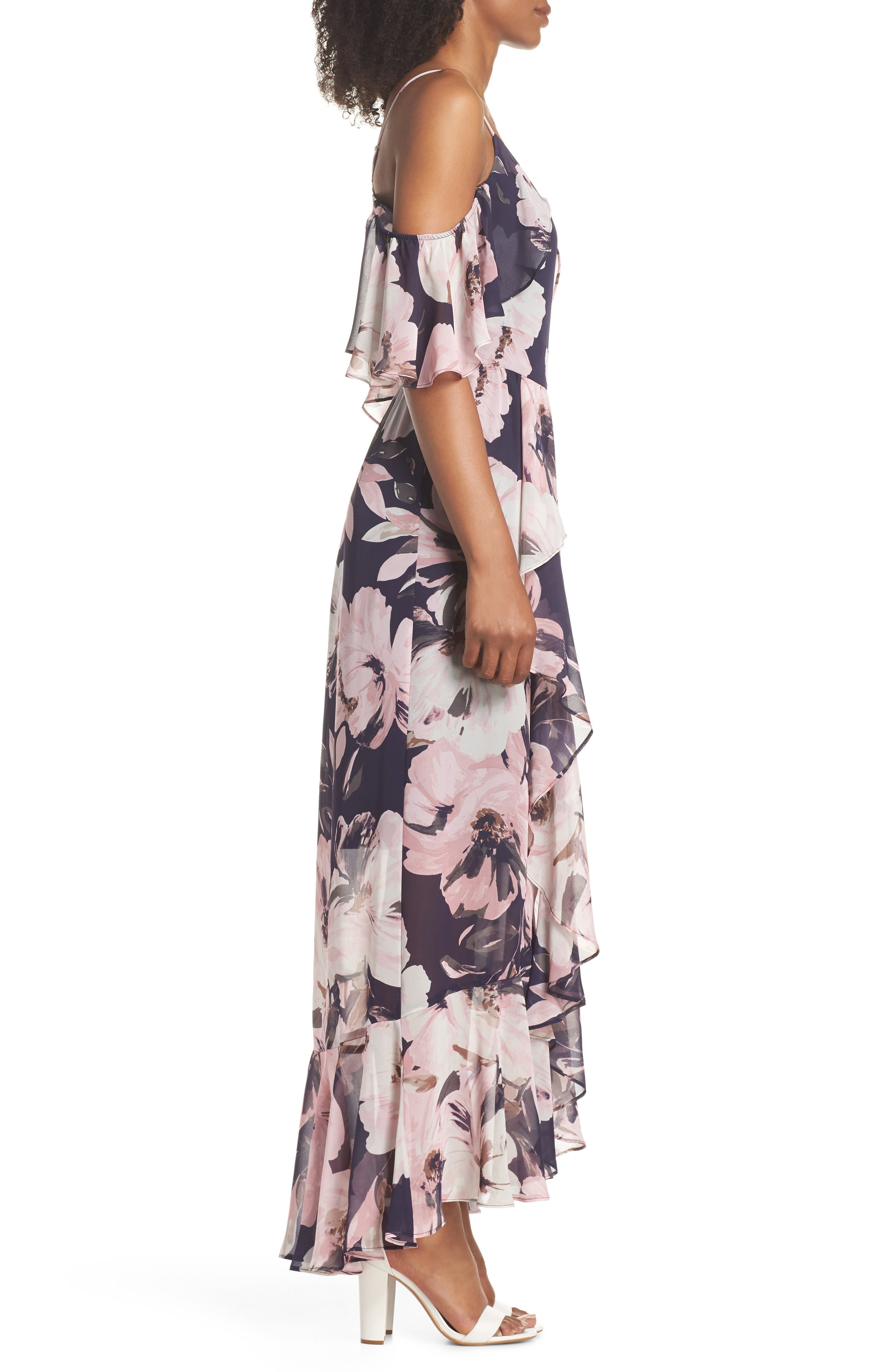 Print Cold Shoulder Chiffon Maxi Dress,                             Alternate thumbnail 3, color,                             Navy Multi